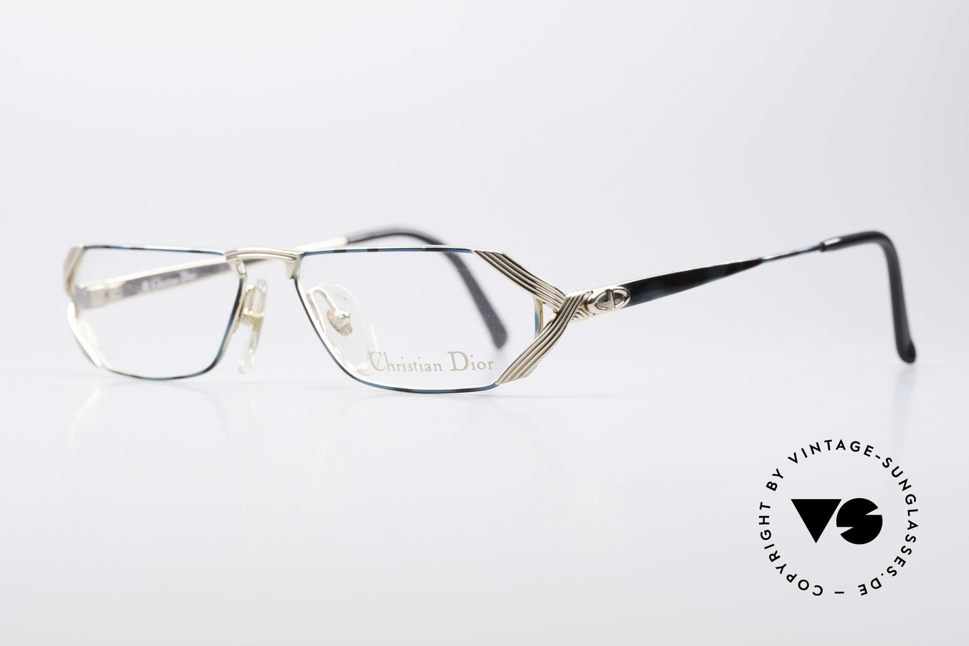 Christian Dior 2617 Vintage Reading Glasses, the unique frame pattern looks teal / gray & gold, Made for Men