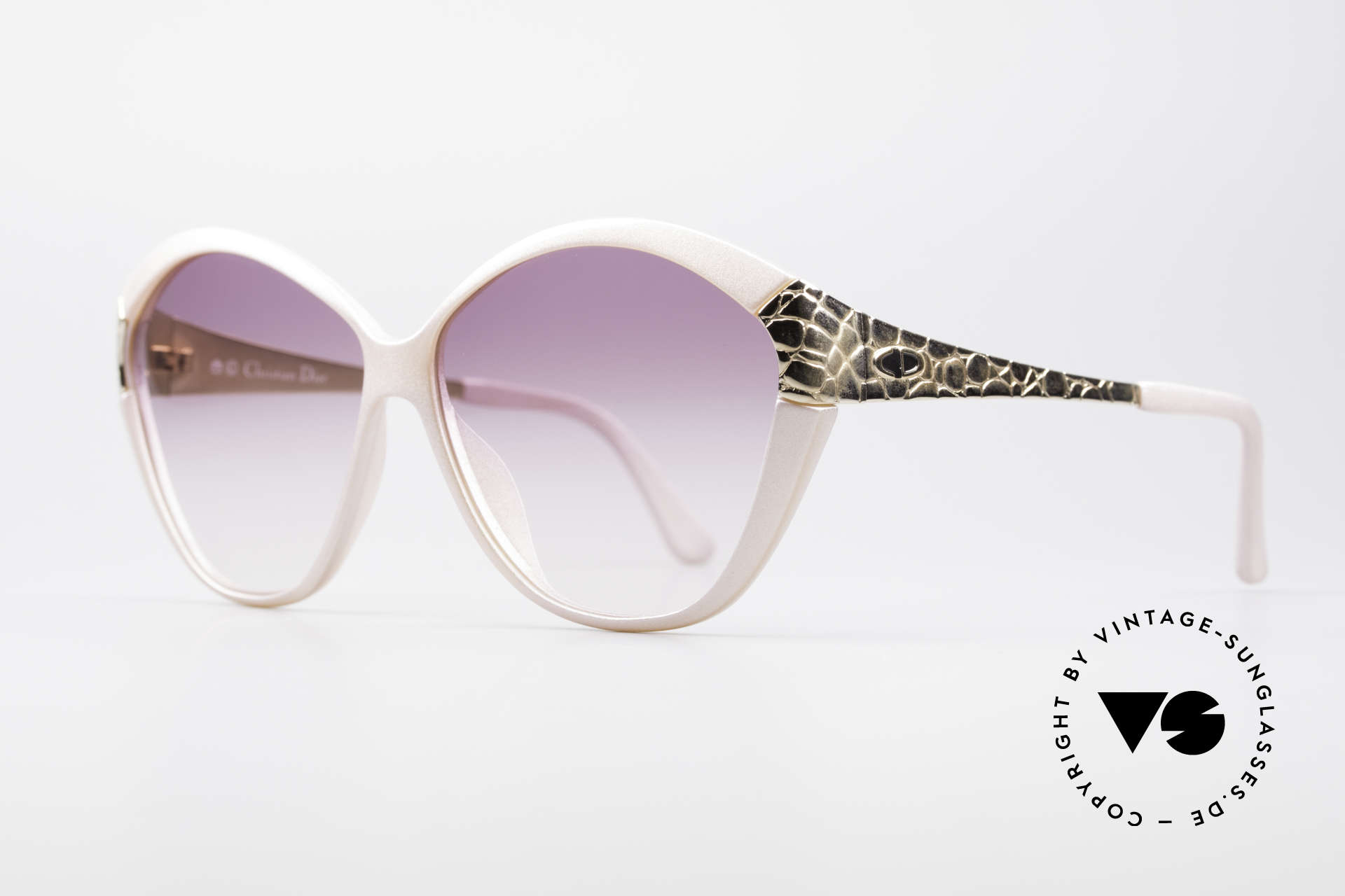 Christian Dior 2319 Pink Ladies Designer Shades, GOLD-PLATED temples with 'croco' pattern, Made for Women