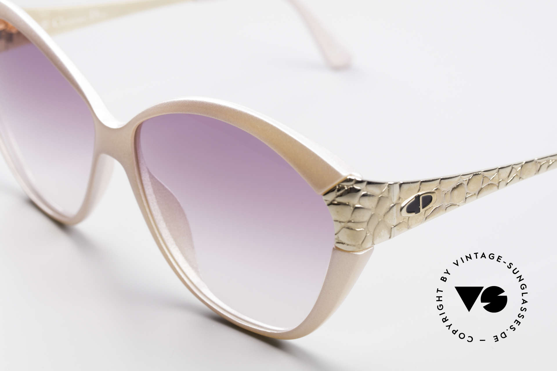 Christian Dior 2319 Pink Ladies Designer Shades, frame front looks 'pink frosted' (fancy & chic), Made for Women