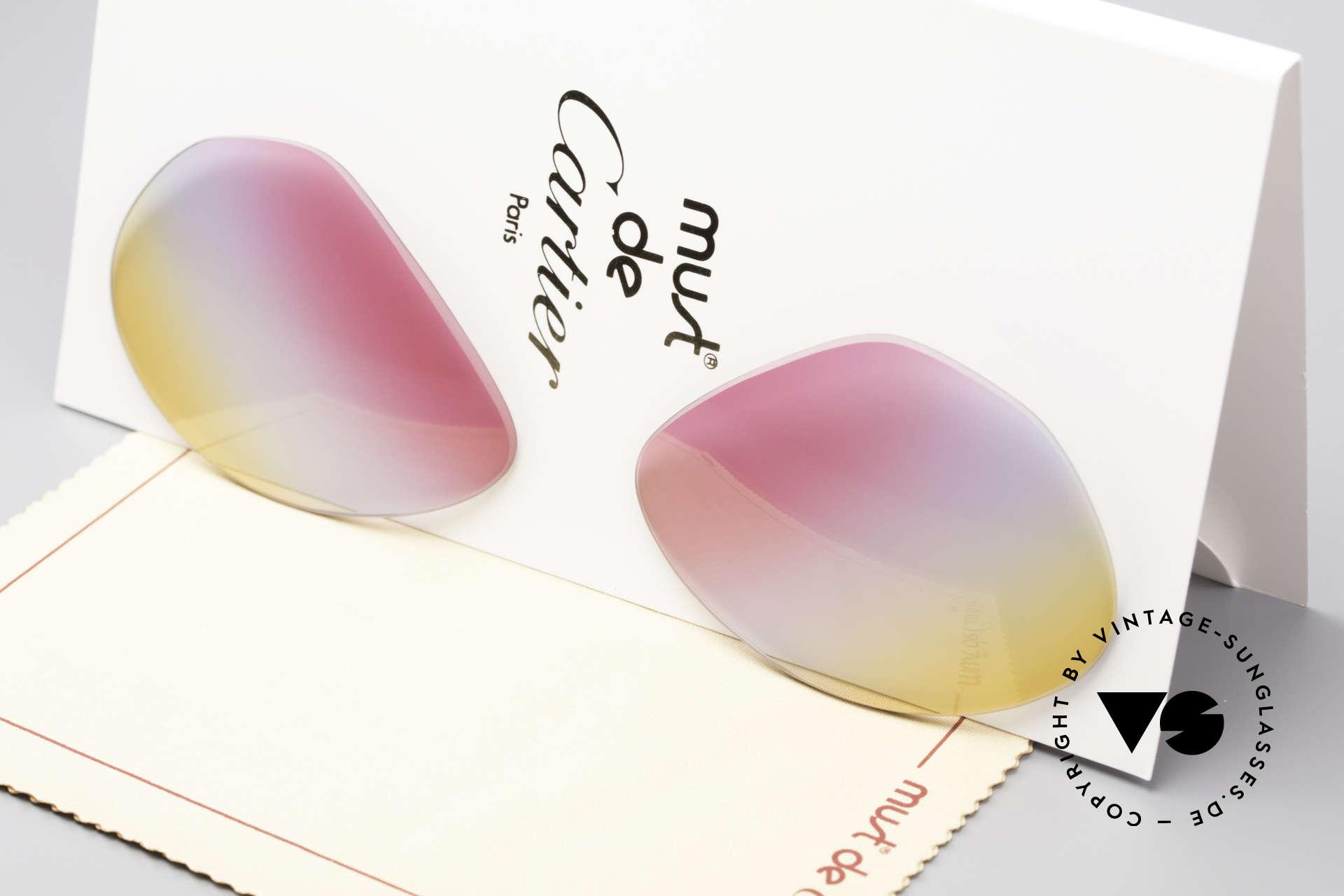 Cartier Vendome Lenses - M Tricolored Sunrise Lenses, new CR39 UV400 plastic lenses (for 100% UV protection), Made for Men and Women