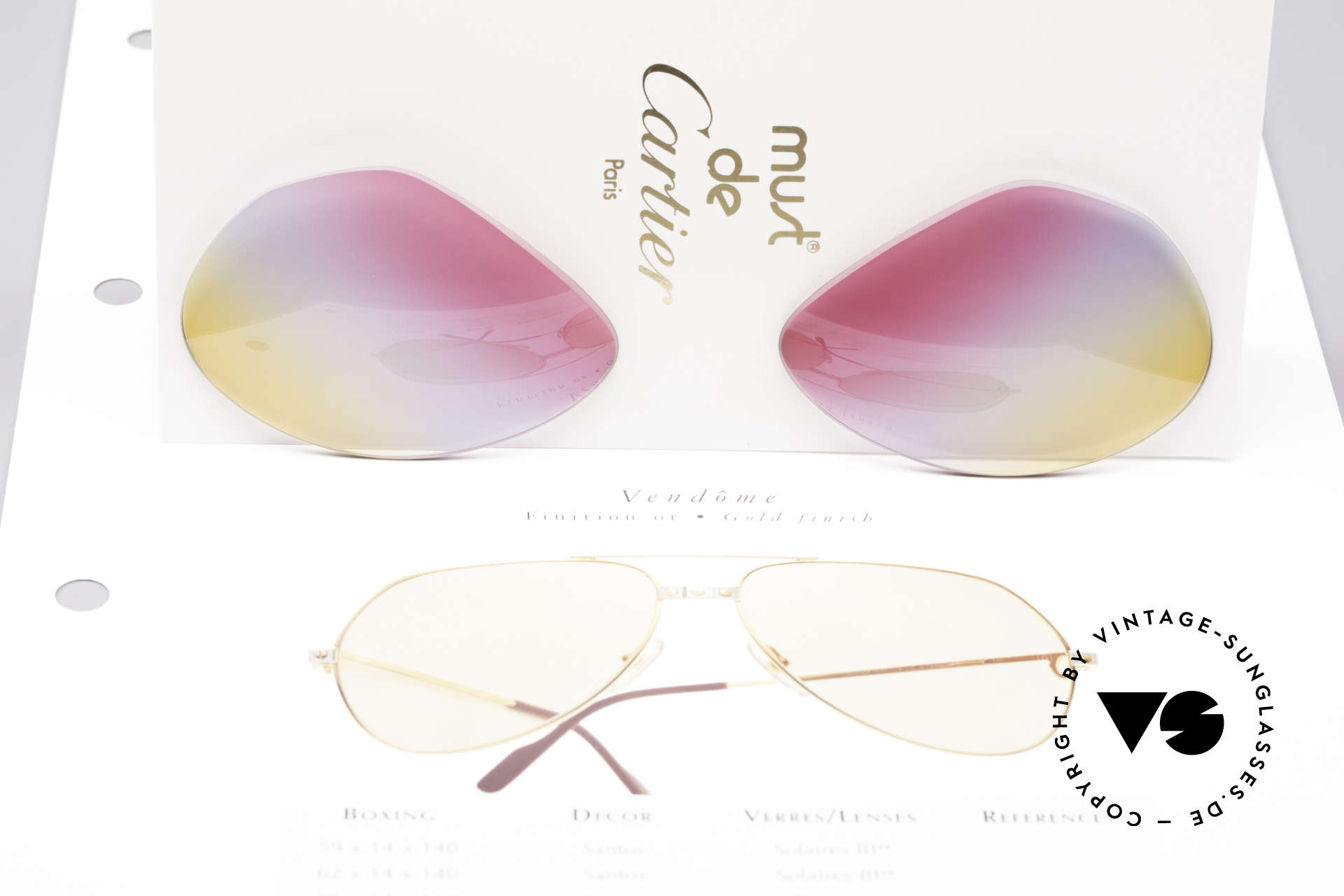 Cartier Vendome Lenses - M Tricolored Sunrise Lenses, TRICOLOR gradient: the triple tint looks like a sunrise, Made for Men and Women
