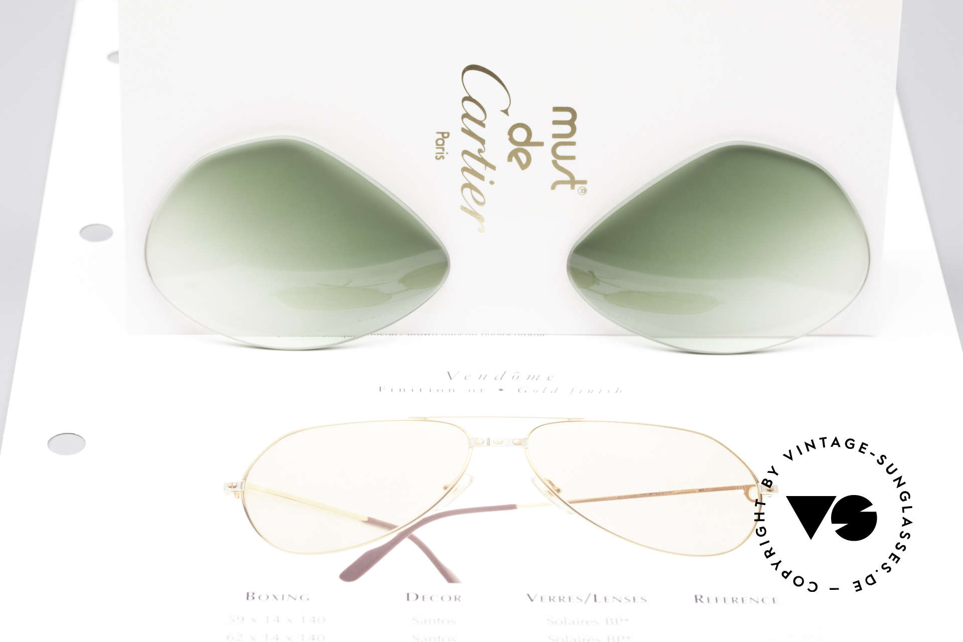 Cartier Vendome Lenses - M Sun Lenses Green Gradient, elegant green-gradient tint (wearable at day and night), Made for Men and Women