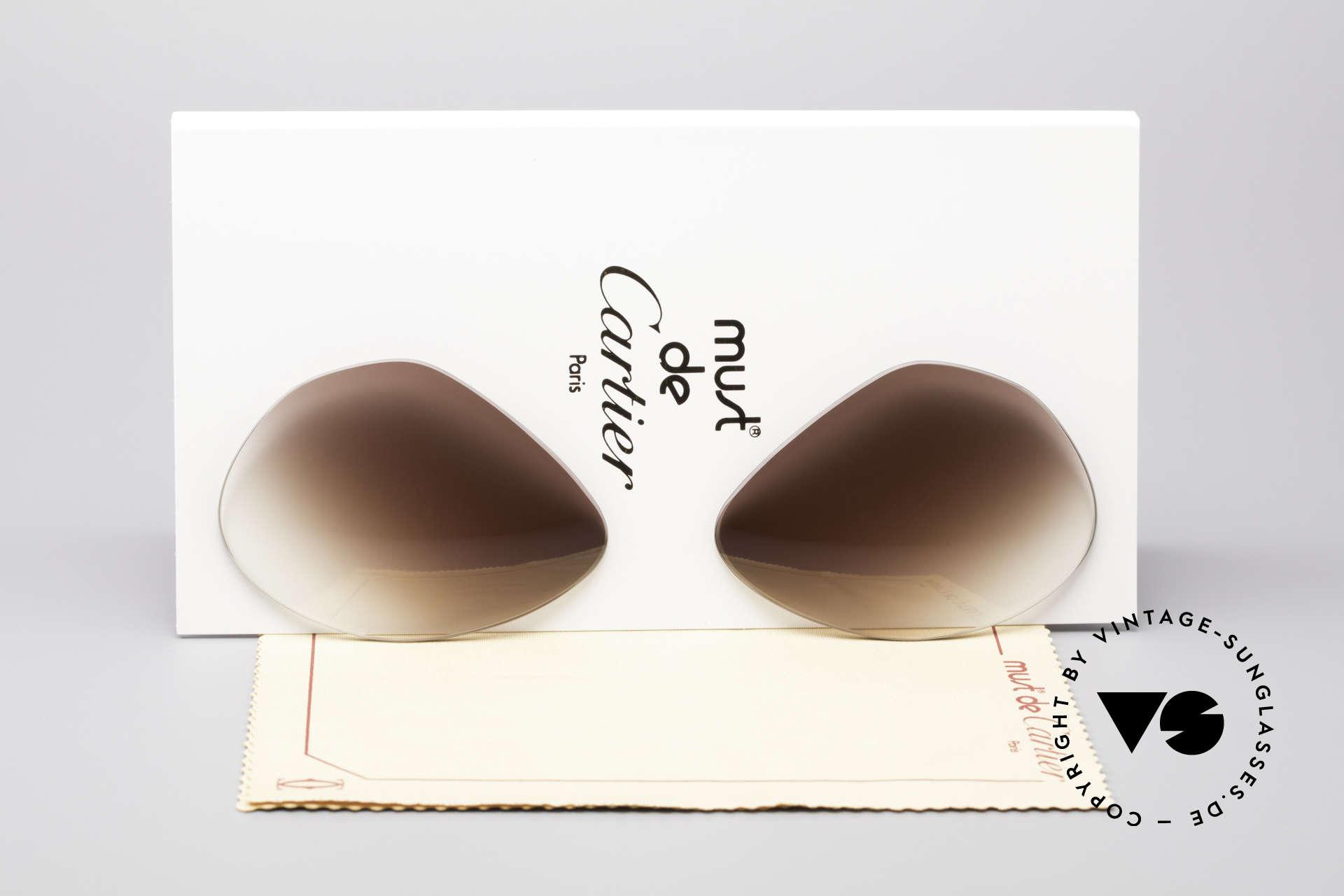 Cartier Vendome Lenses - M Sun Lenses Brown Gradient, replacement lenses for Cartier mod. Vendome 59mm size, Made for Men and Women