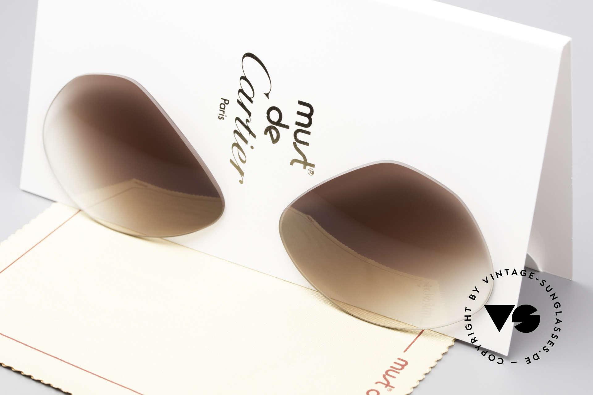 Cartier Vendome Lenses - M Sun Lenses Brown Gradient, new CR39 UV400 plastic lenses (for 100% UV protection), Made for Men and Women