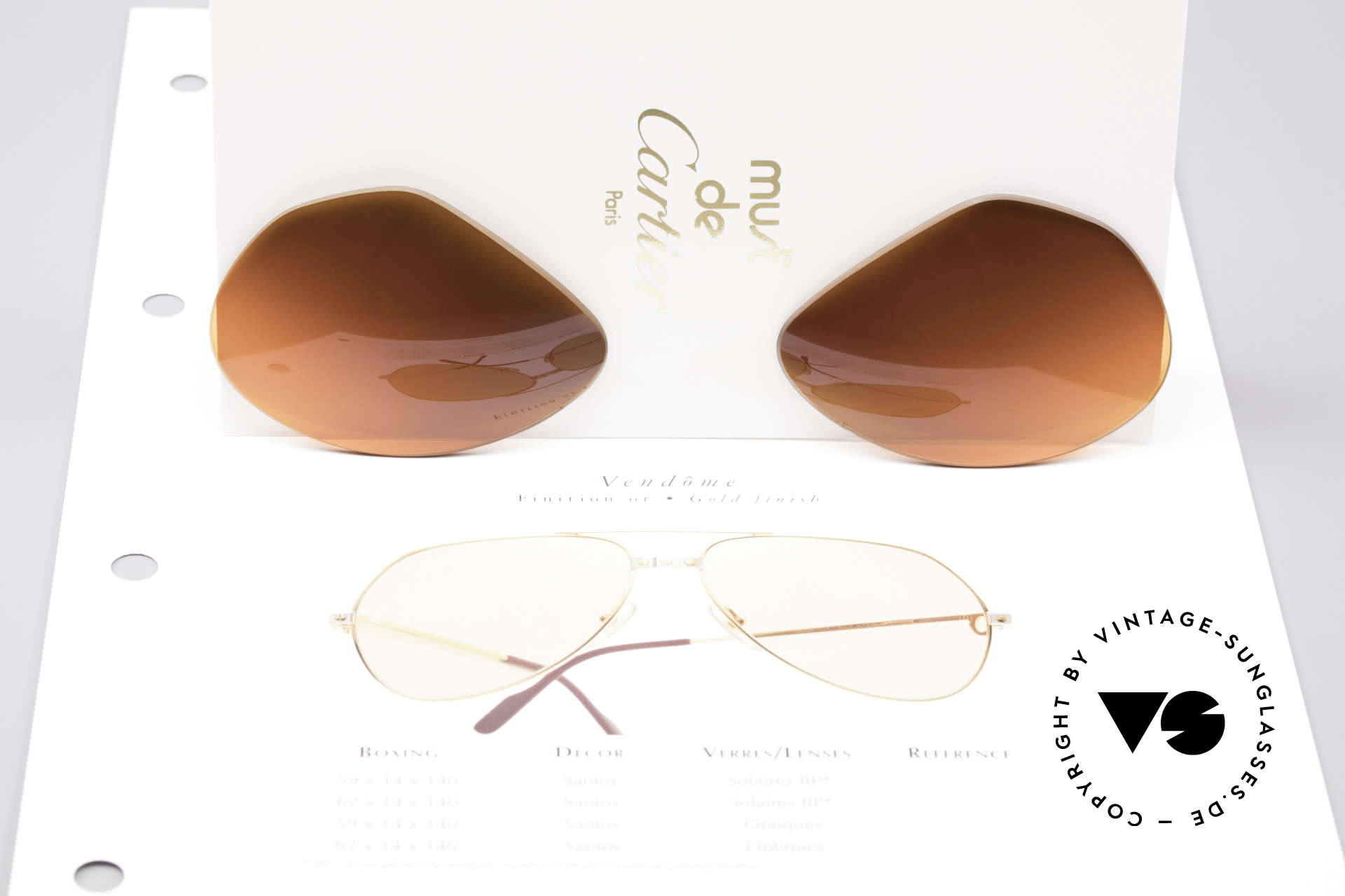Cartier Vendome Lenses - L Sun Lenses Sunset Gradient, the sun lenses are tinted like a sunset (auburn gradient), Made for Men