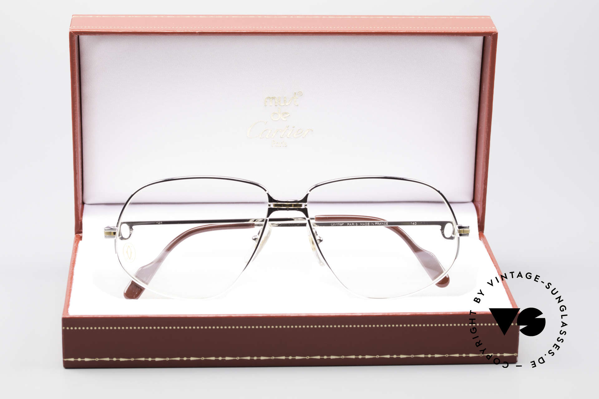 Cartier Panthere G.M. - L Rare Platinum Finish Frame, precious luxury eyeglass-frame in LARGE size 59-14, 140, Made for Men