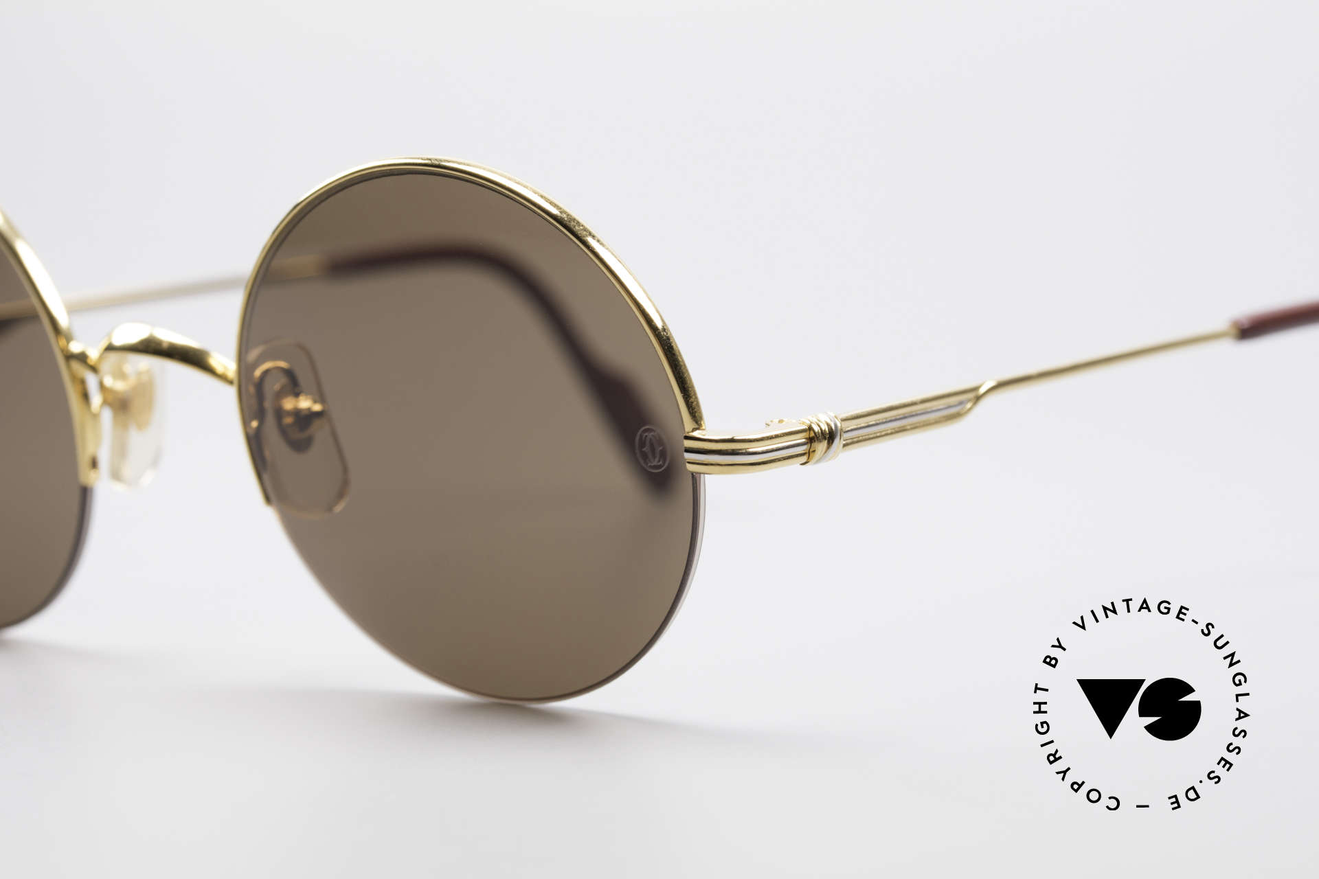 Cartier Mayfair - M Luxury Round Sunglasses, 22ct gold-plated flexible frame; semi-rimless, Made for Men and Women