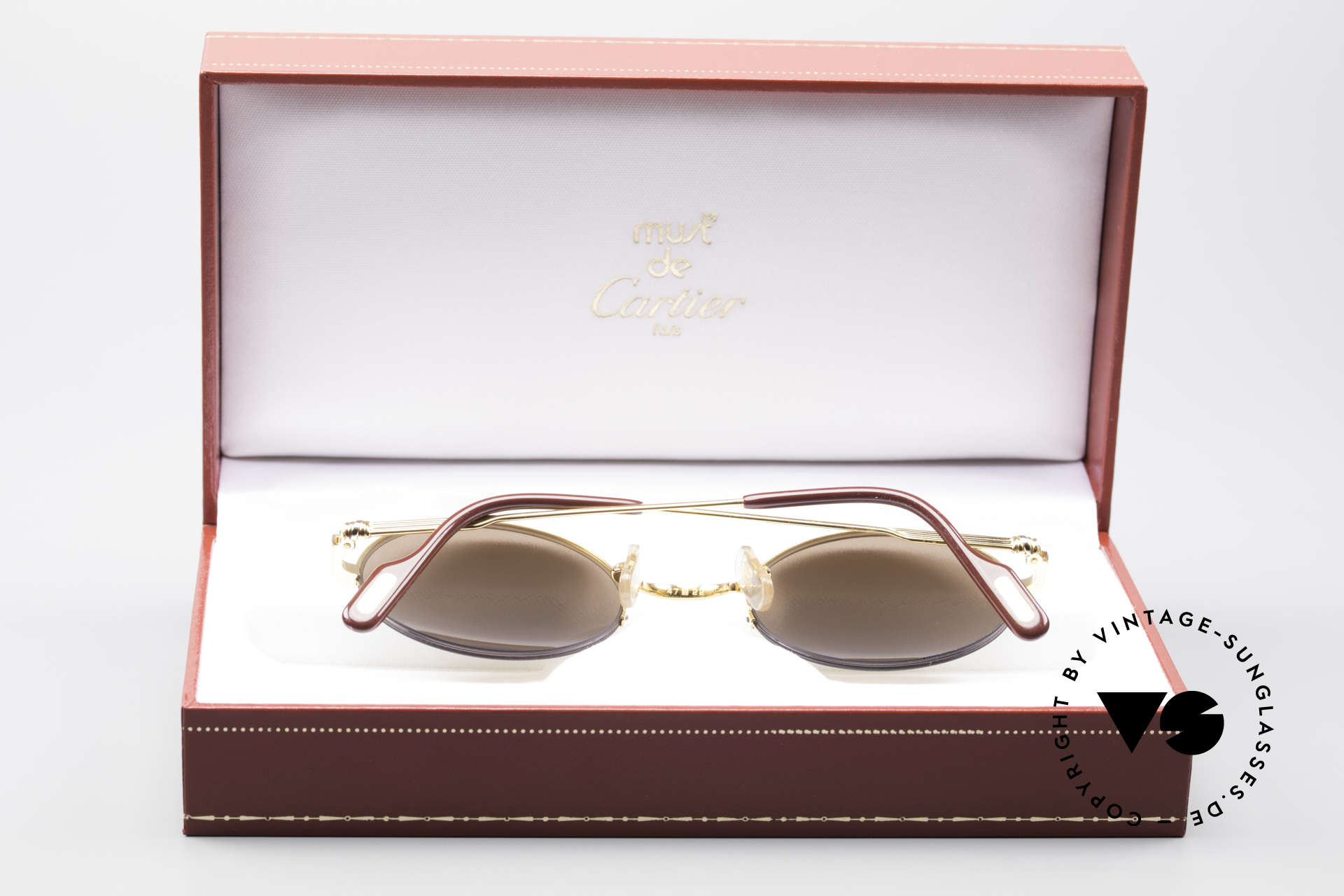 Cartier Mayfair - M Luxury Round Sunglasses, unworn, NOS (sun lenses with CARTIER logos), Made for Men and Women