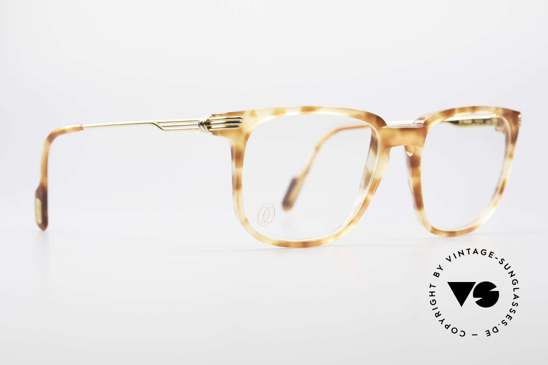 Cartier Reflet 90's Luxury Eyeglass-Frame, noble coloring in 'Tigré roux' (Tiger red) and 22ct GP, Made for Men and Women