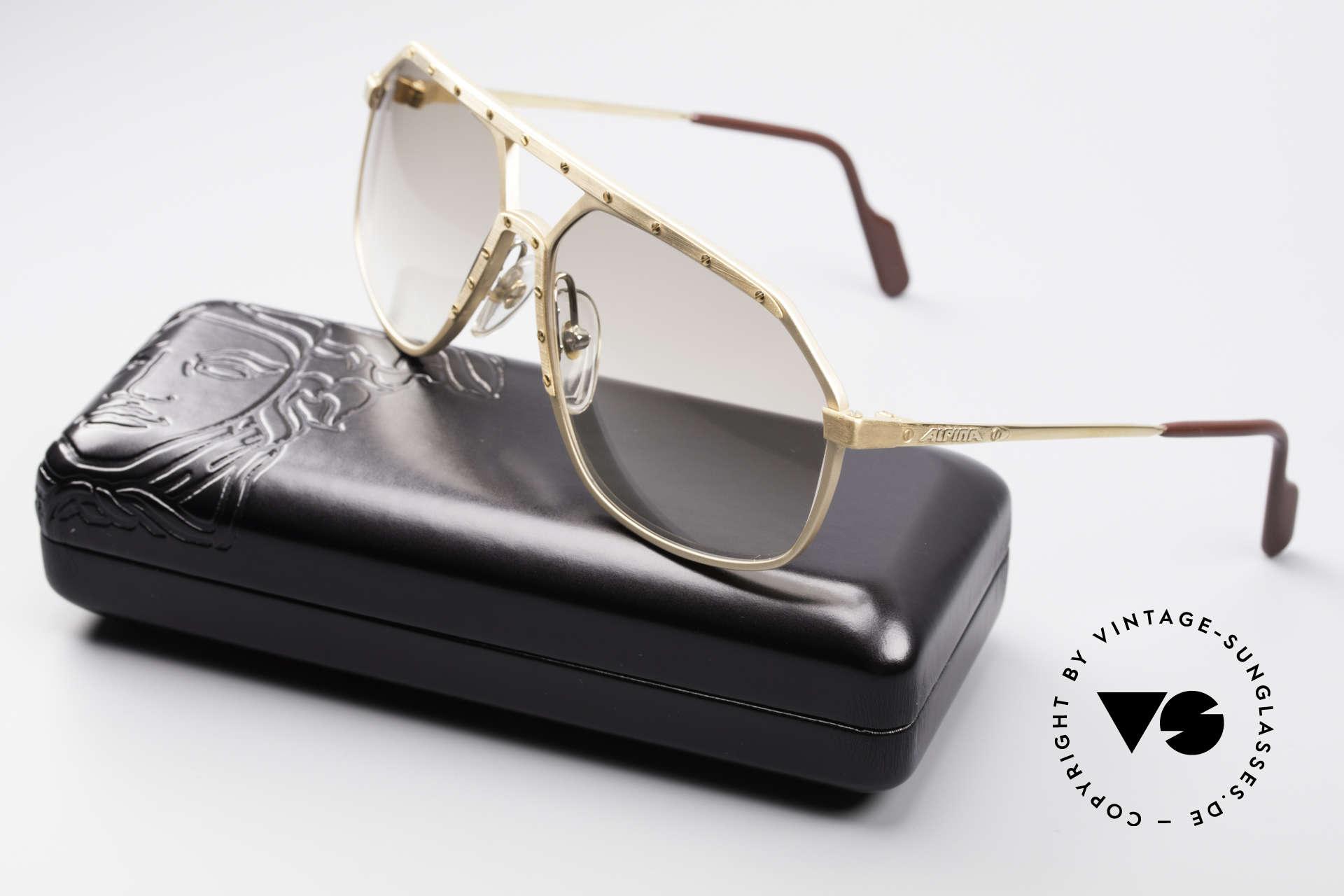 Alpina M6 Old 80's Shades True Vintage, NO RETRO shades; handmade rarity + Versace case, Made for Men