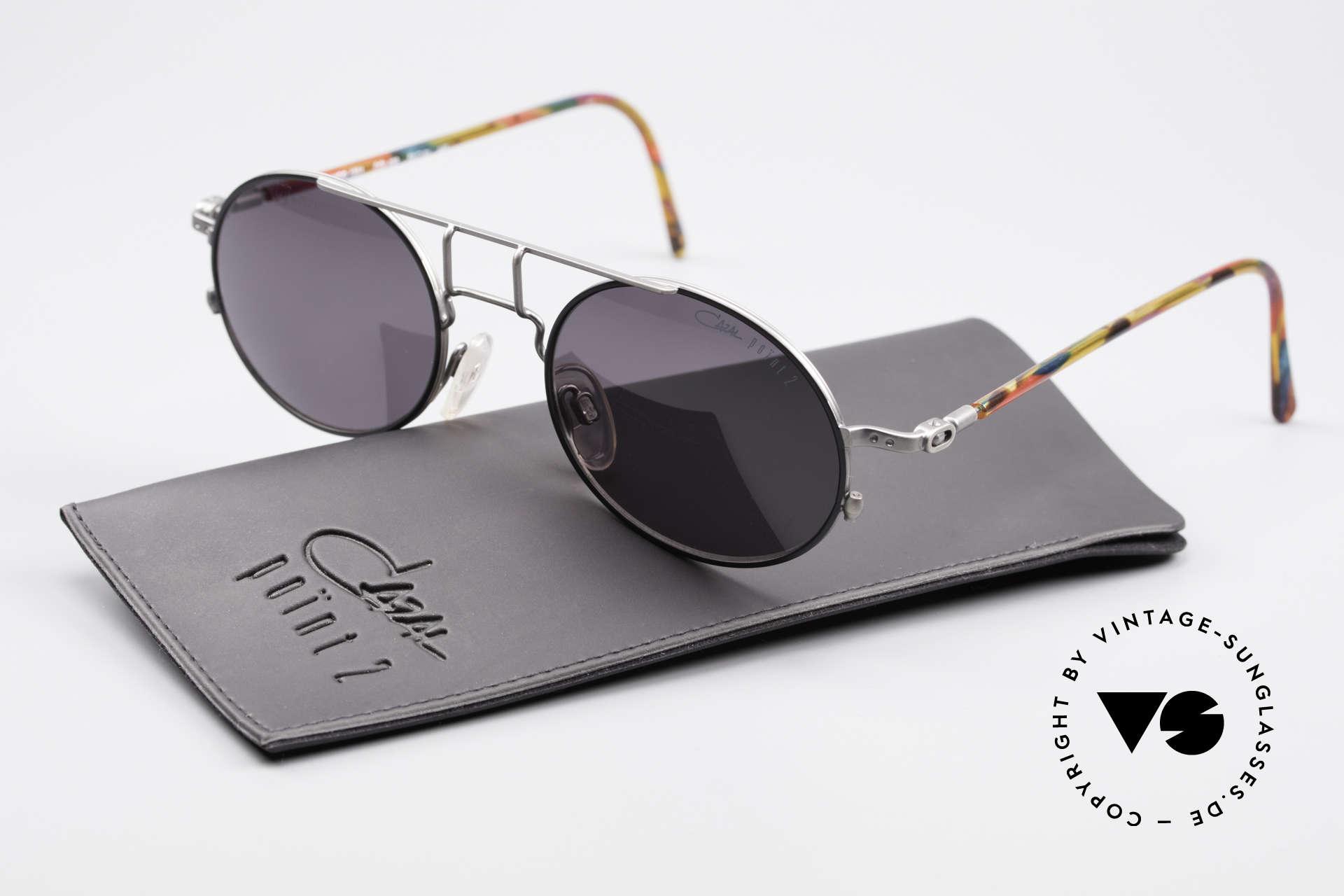 Cazal 1201 - Point 2 90's Industrial Style Shades, dark gray CAZAL sun lenses (for 100% UV protection), Made for Men