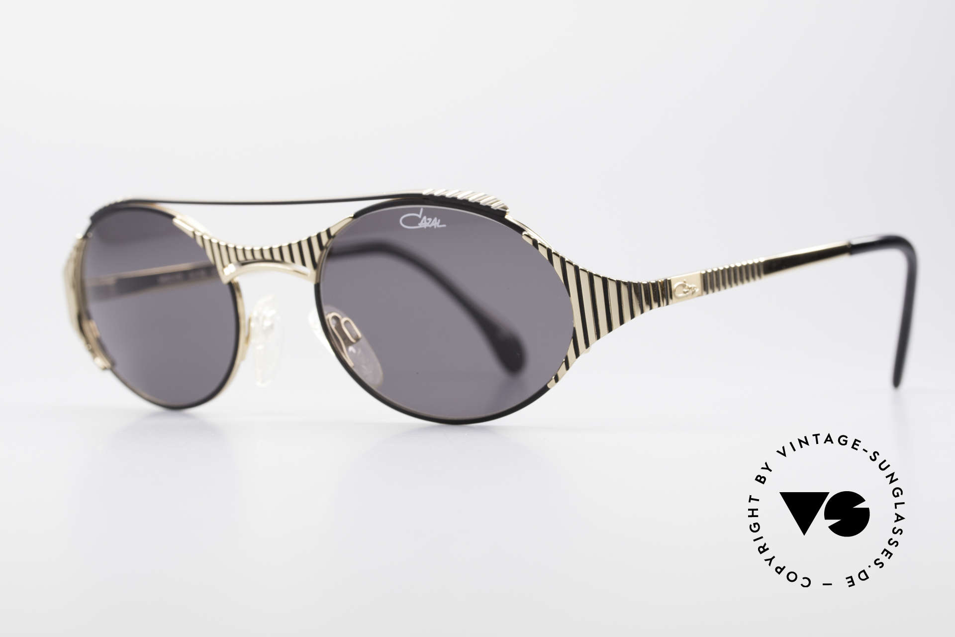 Cazal 978 Rare 90's Designer Sunglasses, sophisticated frame-design (gold with black stripes), Made for Men and Women
