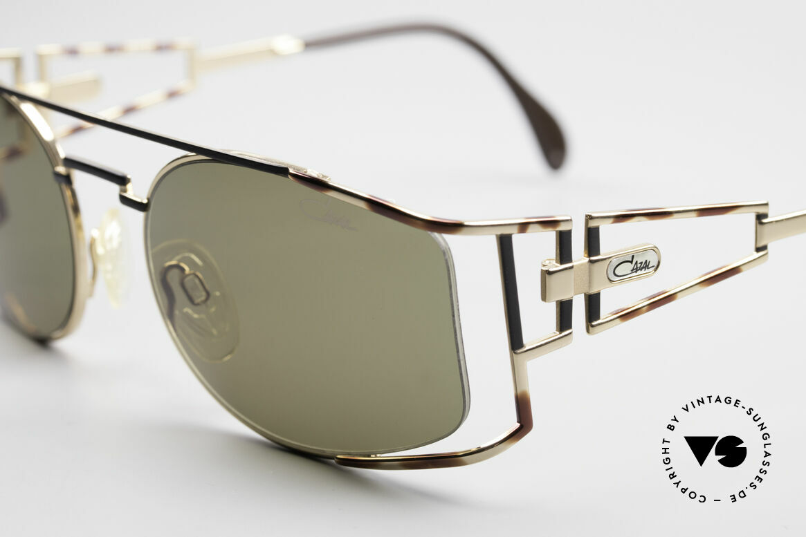 Cazal 967 Rare 90's Designer Sunglasses, amber-black/gold frame pattern; made in Germany, Made for Men and Women