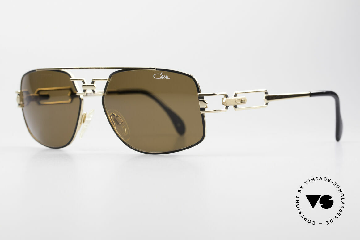 Cazal 972 True 90's No Retro Sunglasses, costly frame finish in black-gold; pure timeless elegance, Made for Men and Women