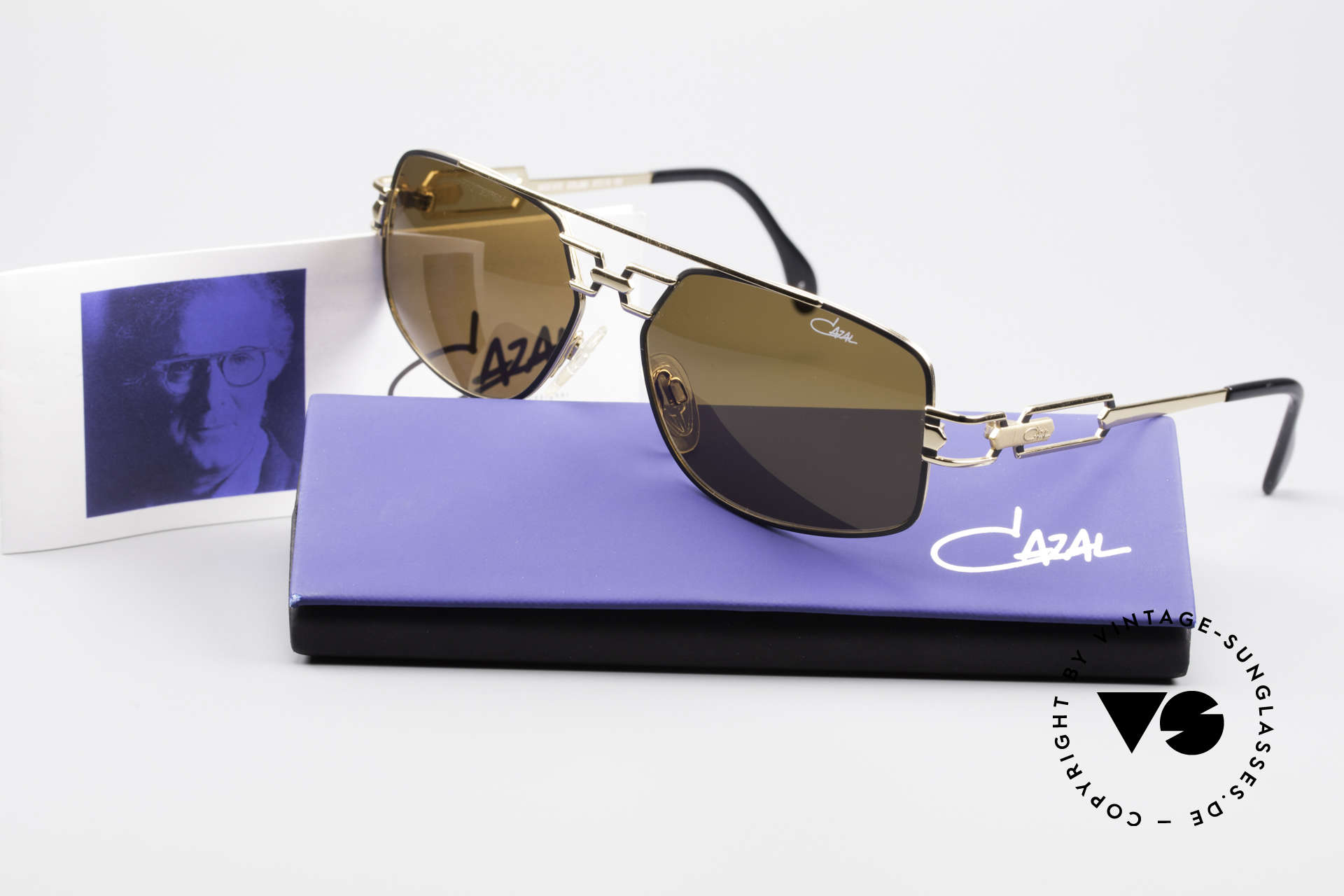 Cazal 972 True 90's No Retro Sunglasses, orig. brown Cazal sun lenses with UV PROTECTION mark, Made for Men and Women