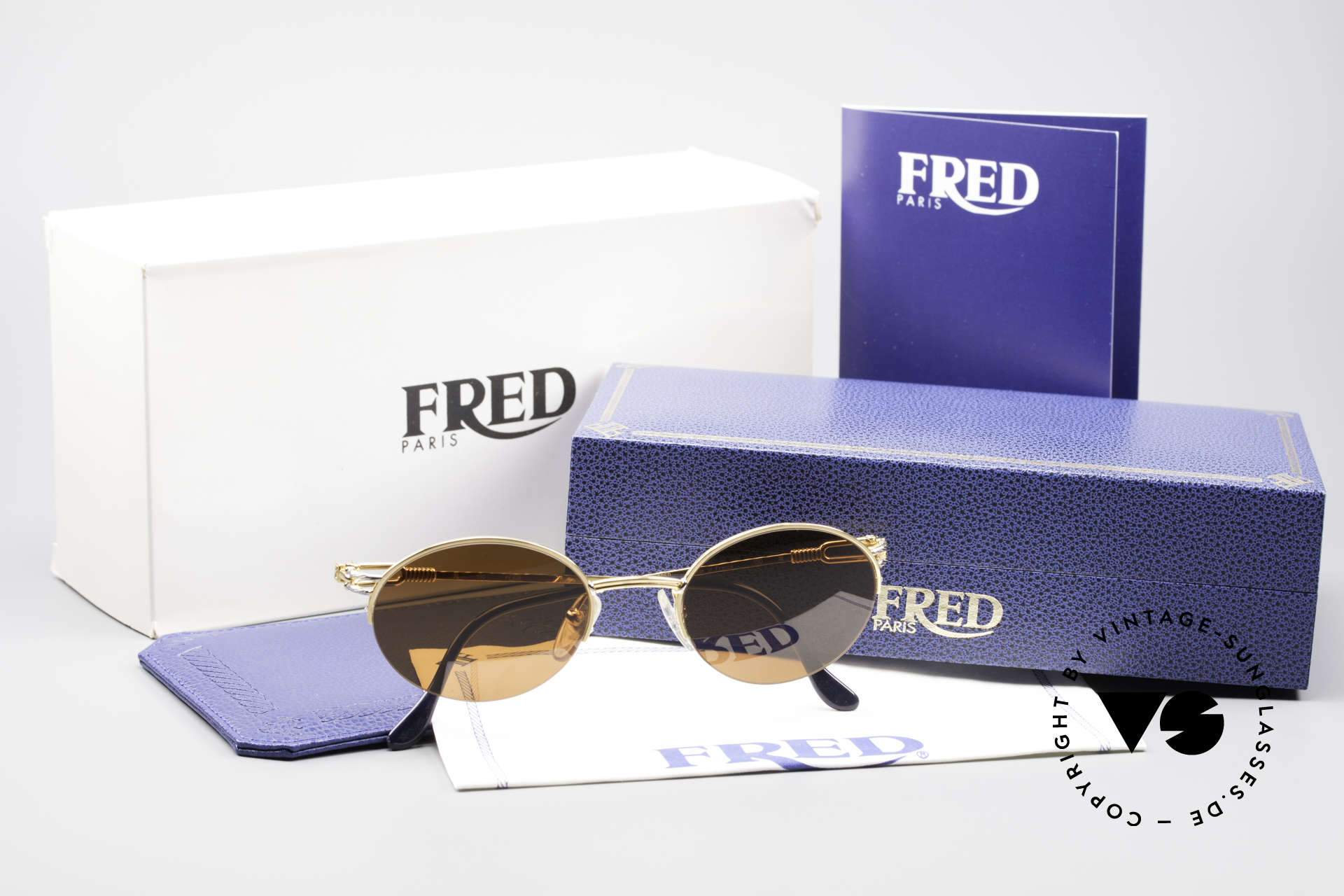 Fred Feroe Oval Luxury Sunglasses, unworn, like all our precious vintage Fred sunglasses, Made for Men and Women