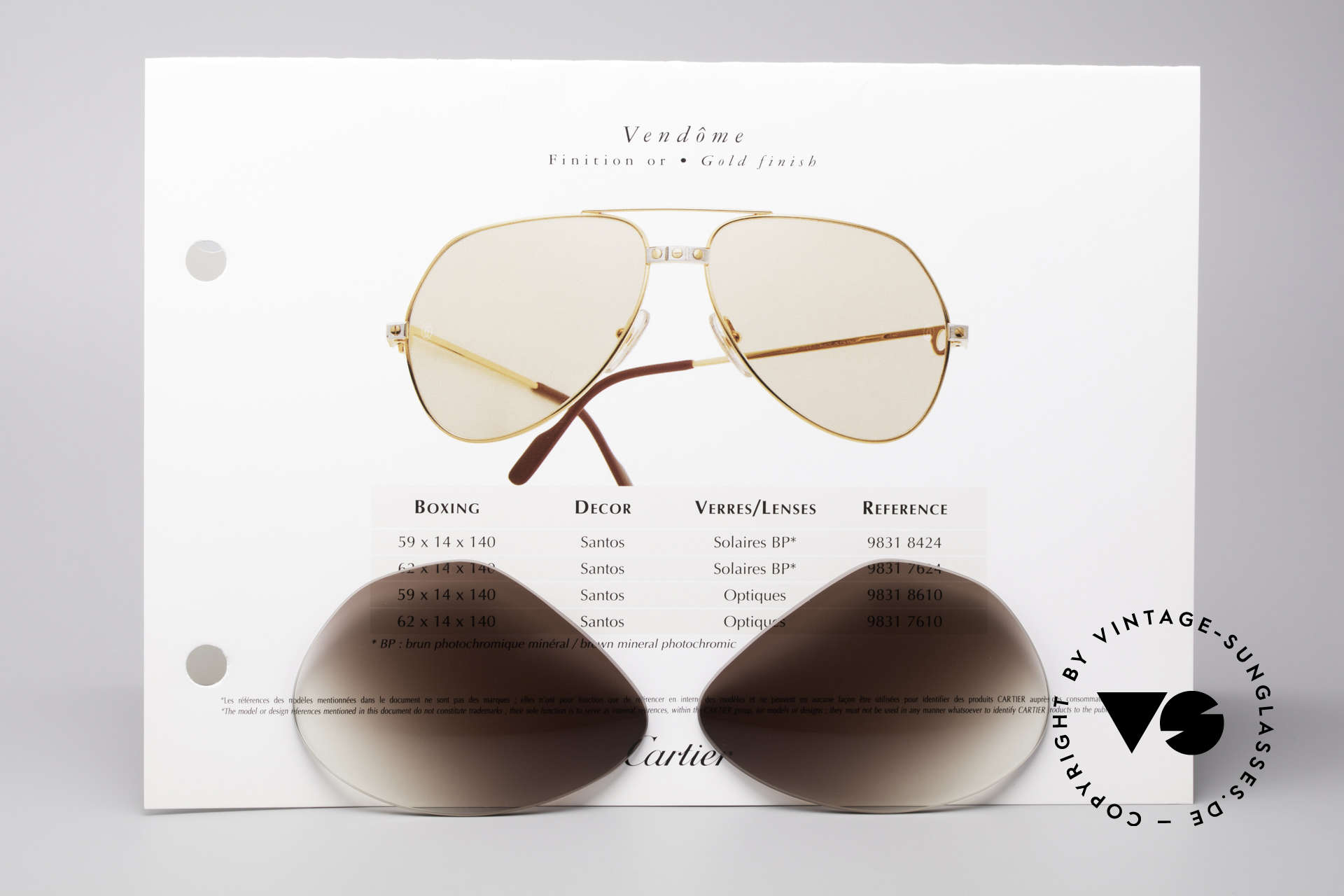 Cartier Vendome Lenses - L Brown Gradient Sun Lenses, elegant brown-gradient tint (wearable at day and night), Made for Men