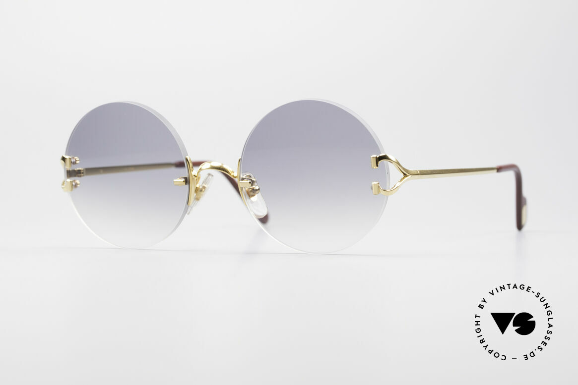 Cartier Madison Round Rimless Sunglasses, noble rimless CARTIER luxury sunglasses from 1997, Made for Men and Women