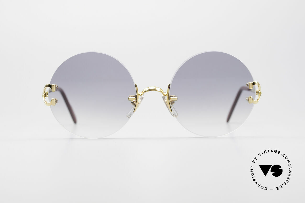 Cartier Madison Round Rimless Sunglasses, precious round designer shades (22ct GOLD-plated), Made for Men and Women