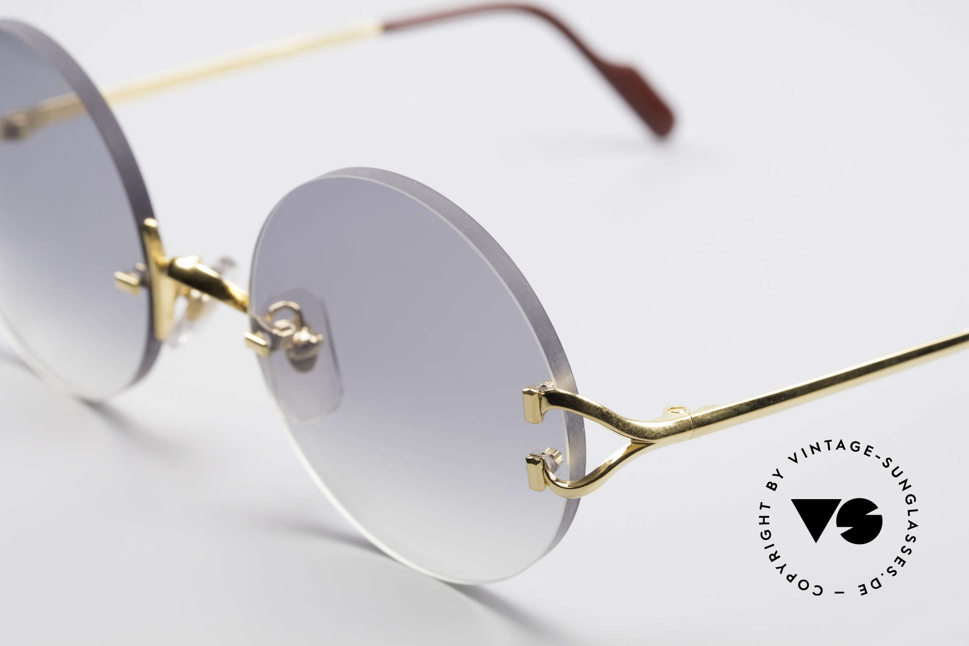 Cartier Madison Round Rimless Sunglasses, 130mm temples & 128mm width = rather SMALL size, Made for Men and Women