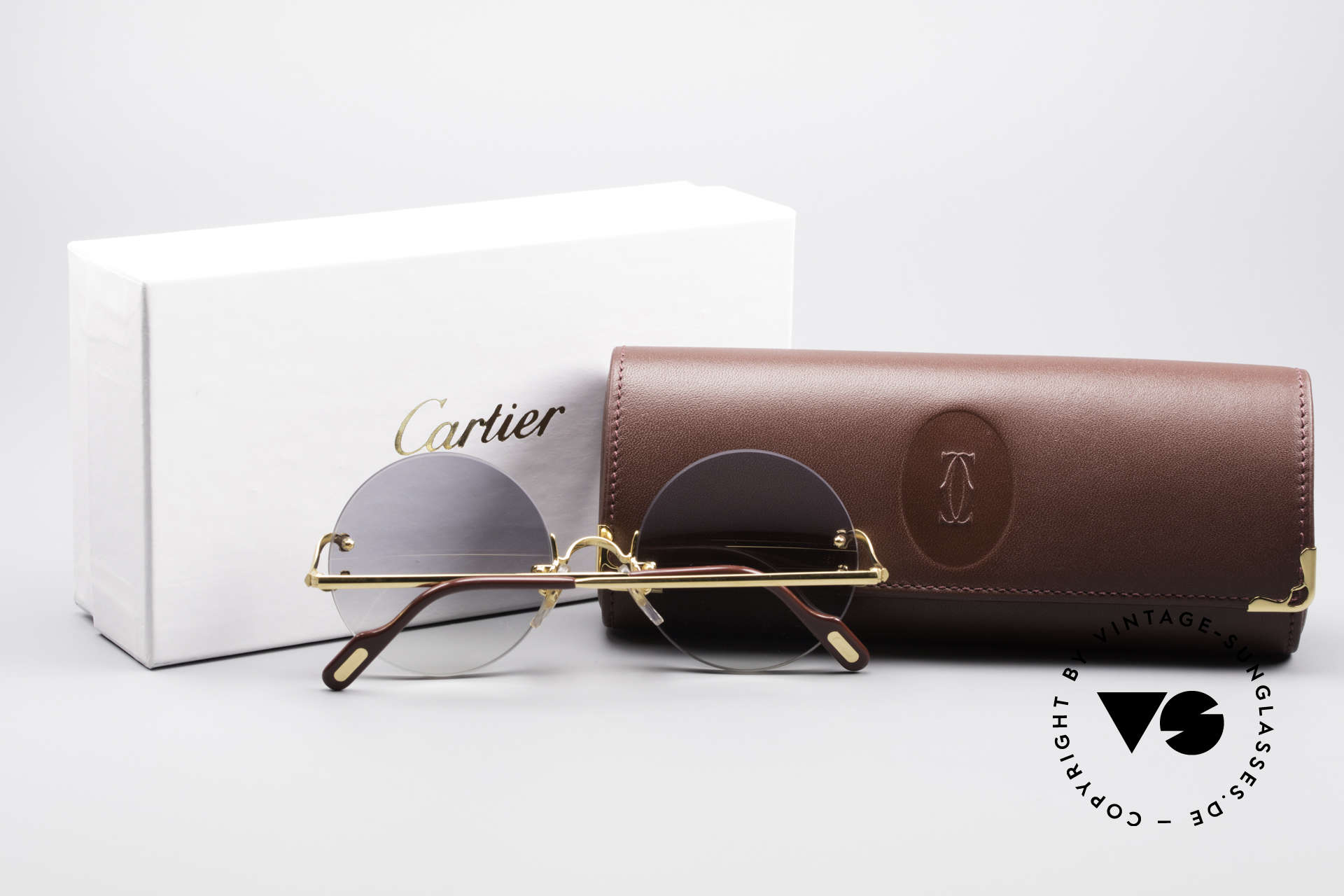 Cartier Madison Round Rimless Sunglasses, many celebrities wear this Cartier model, these days, Made for Men and Women
