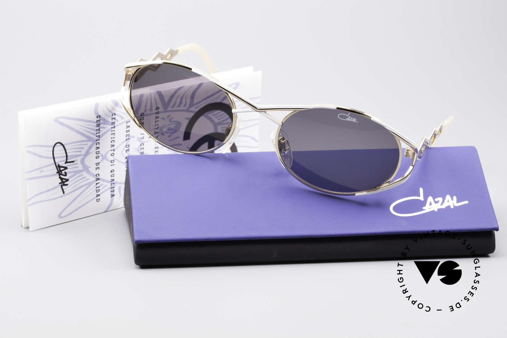 Cazal 977 90's Designer Shades Women, original gray Cazal sun lenses for 100% UV protection, Made for Women
