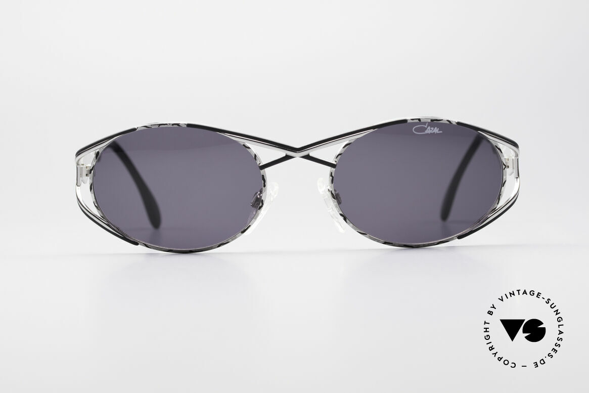 Cazal 977 Vintage 90s Sunglasses Ladies, very elegant frame paintwork in silver/black coloring, Made for Women