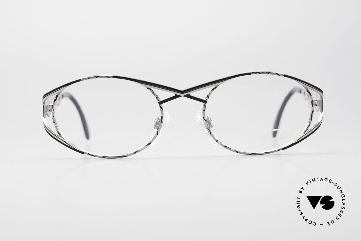 Cazal 977 Vintage 90s Eyeglasses Ladies, very elegant frame paintwork in silver/black coloring, Made for Women