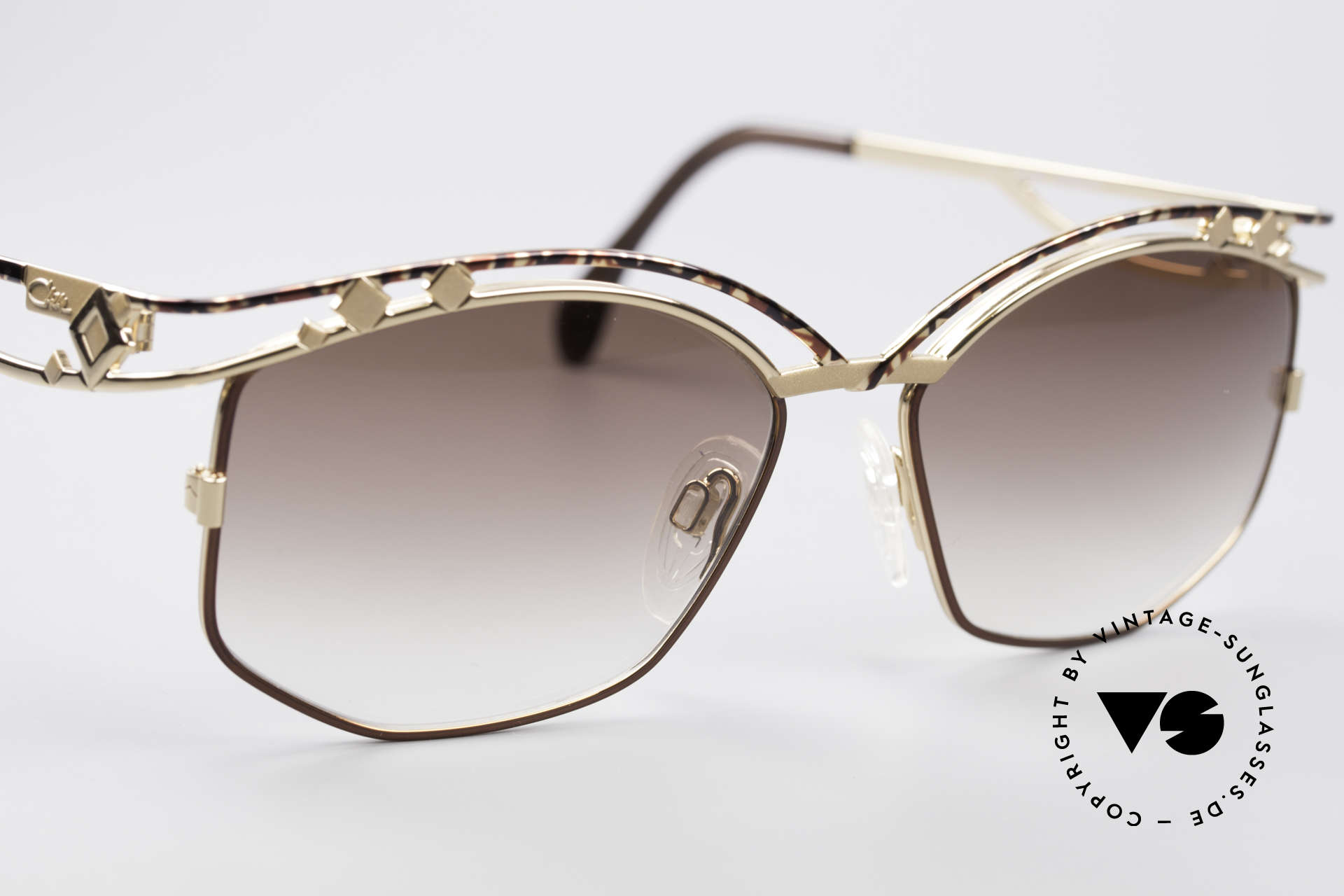 Cazal 280 Rare 90's Designer Sunglasses, with brown-gradient sun lenses (100% UV protection), Made for Women