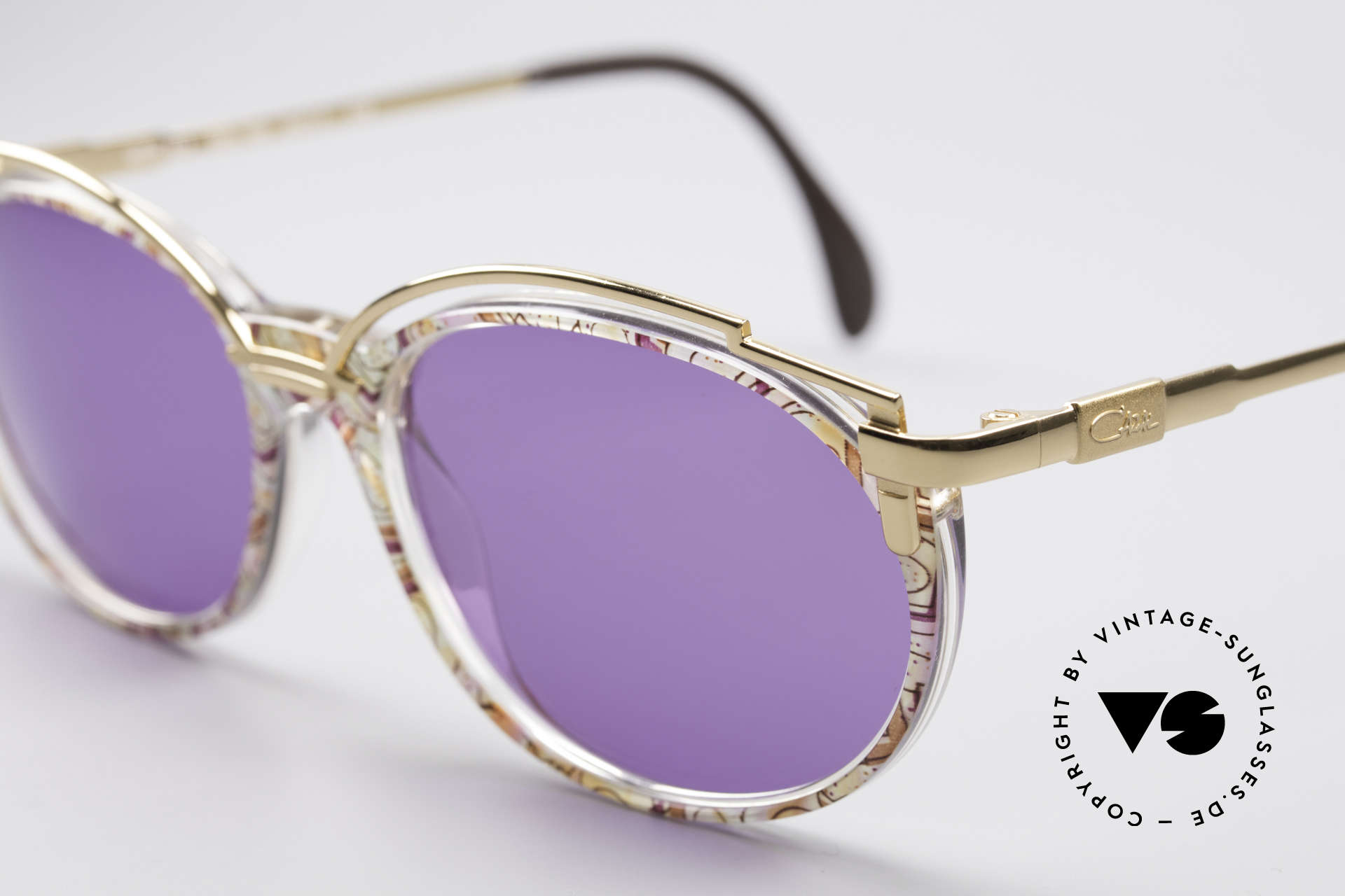 Cazal 358 Rare 90's Vintage Sunglasses, CAZAL called the terrific pattern: 'fuchsia-mint pastel', Made for Women