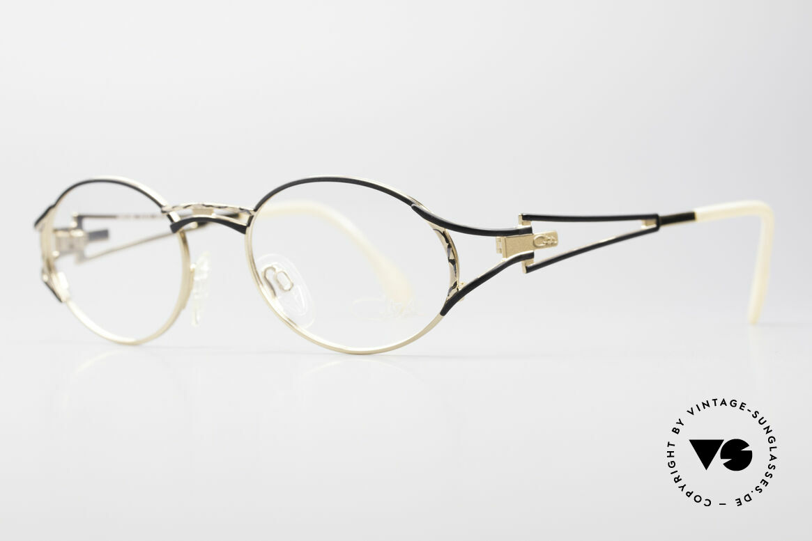 Cazal 285 Oval Round Vintage Glasses, noble coloring in champagne-black-mat / gold, Made for Women