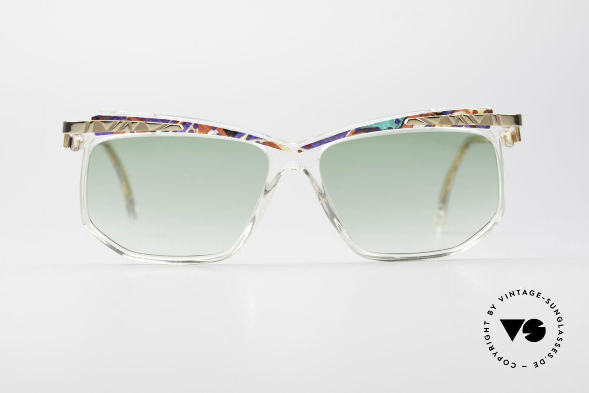 Cazal 366 Crystal Vintage 90's Shades, crystal clear frame with colorful pattern (multicolor), Made for Men and Women