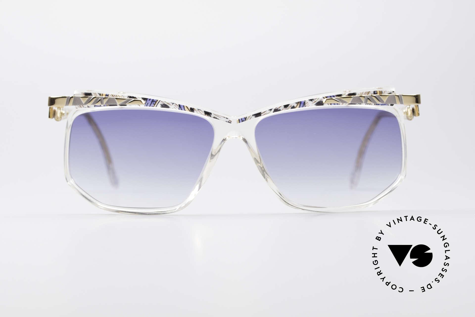 Cazal 366 Crystal Vintage 90's Hip Hop, crystal frame (interesting pattern: azure/maize/black), Made for Men and Women