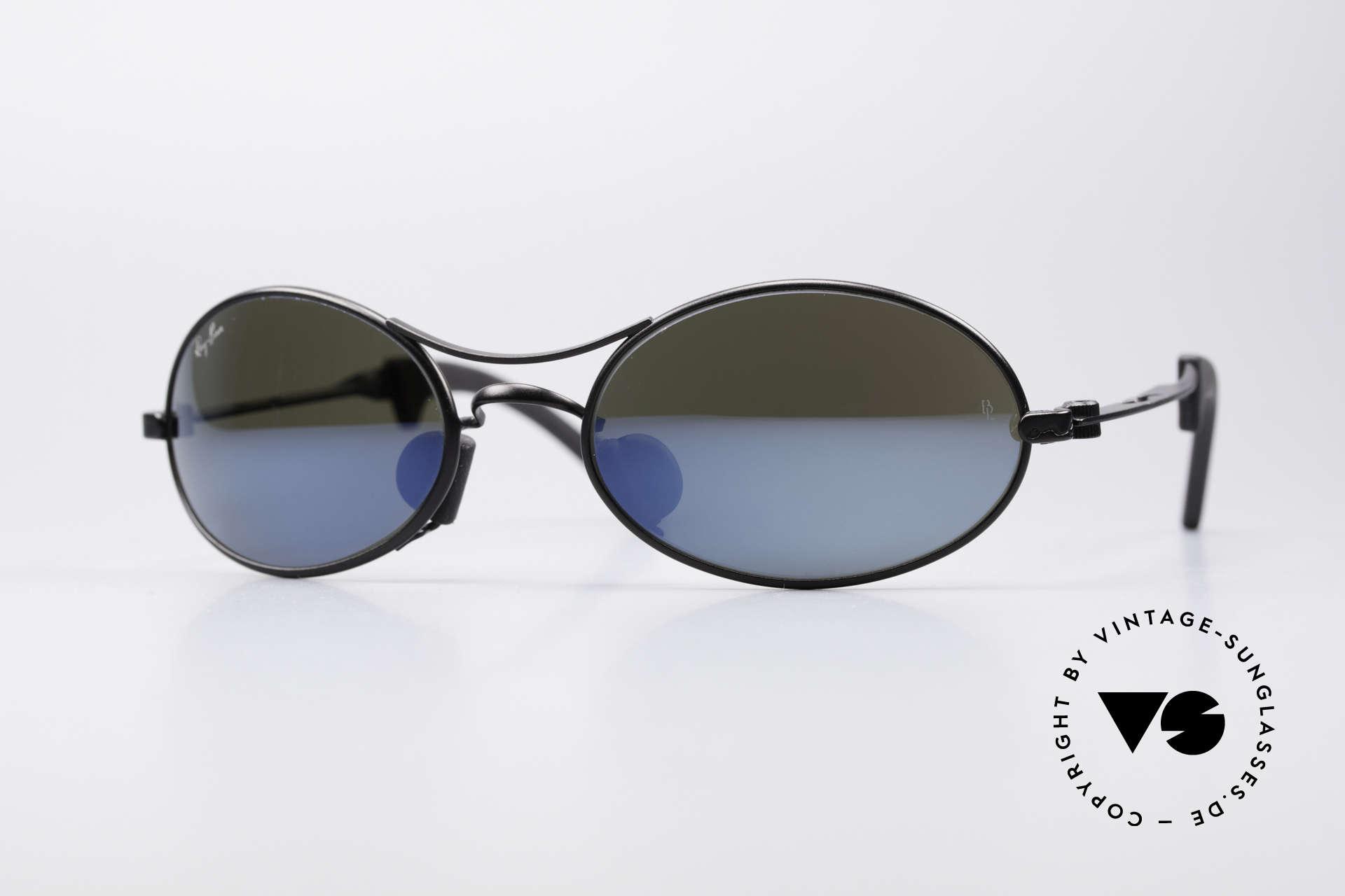 Ray Ban Orbs 9 Base Oval Blue Mirror B&L USA Shades, futuristic sports designer sunglasses by Ray Ban; B&L, Made for Men