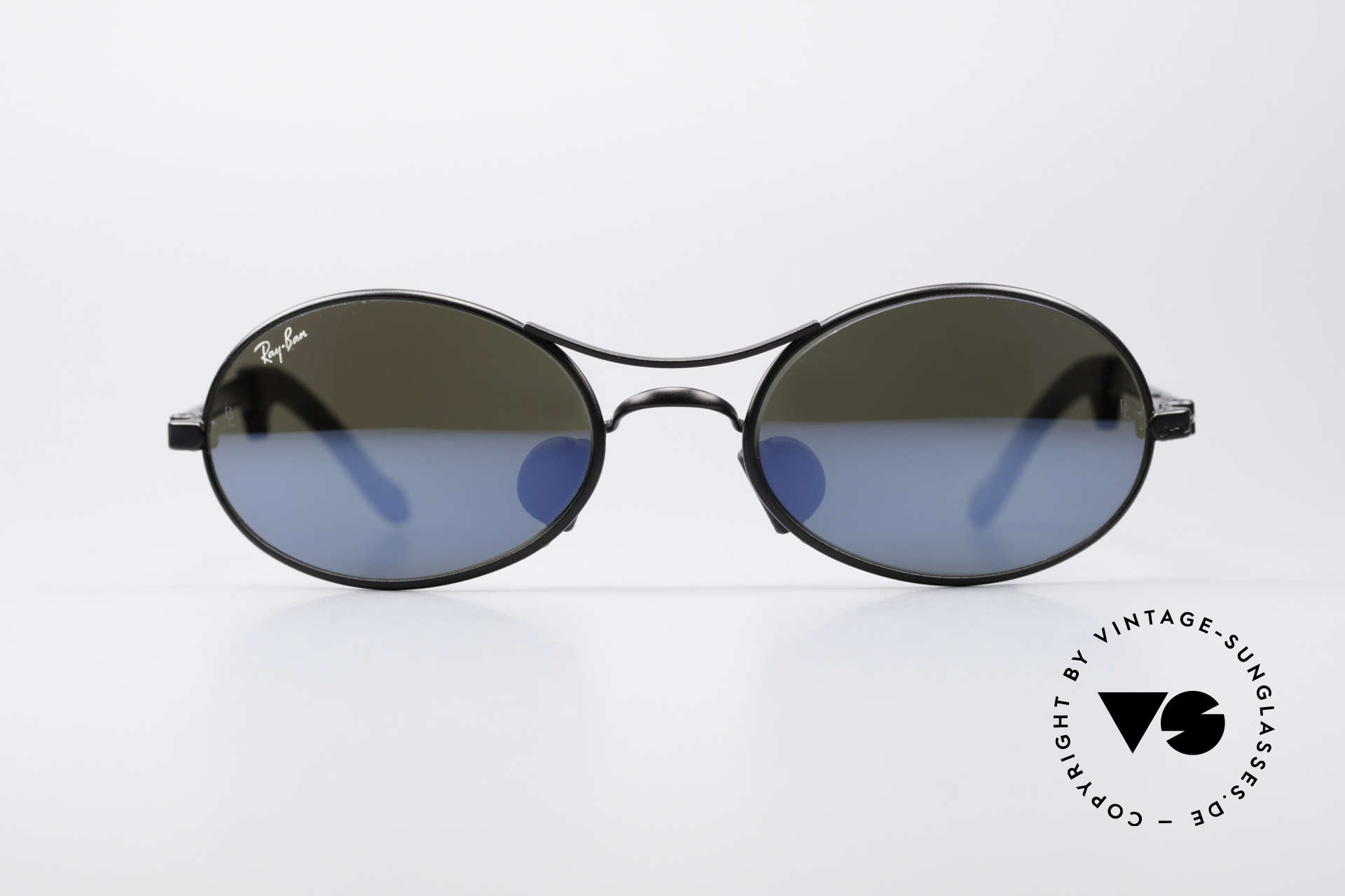 Ray Ban Orbs 9 Base Oval Blue Mirror B&L USA Shades, original vintage sunglasses from the late 1990's, USA, Made for Men