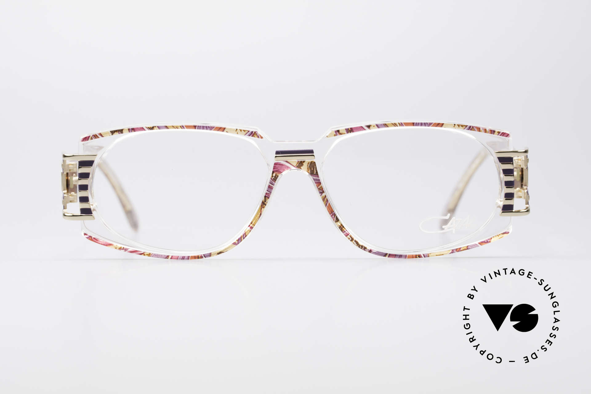 Cazal 372 Rare HipHop Vintage Eyeglasses, terrific / stunning color concept: raspberry-lilac patterned, Made for Men and Women
