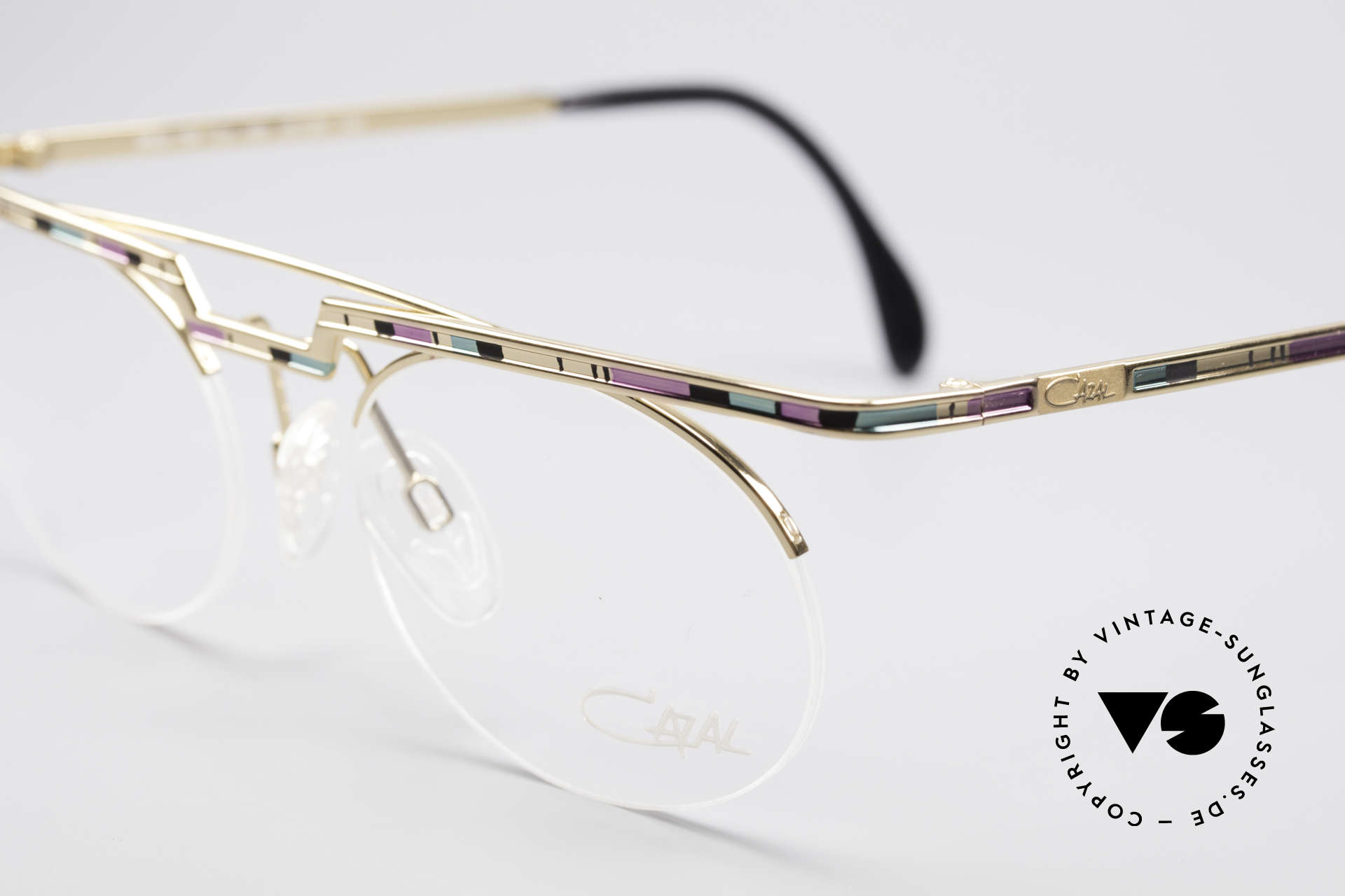 Cazal 758 Original Glasses No Retro Frame, col. description in the old catalog: rosé-mint-black / gold, Made for Men and Women
