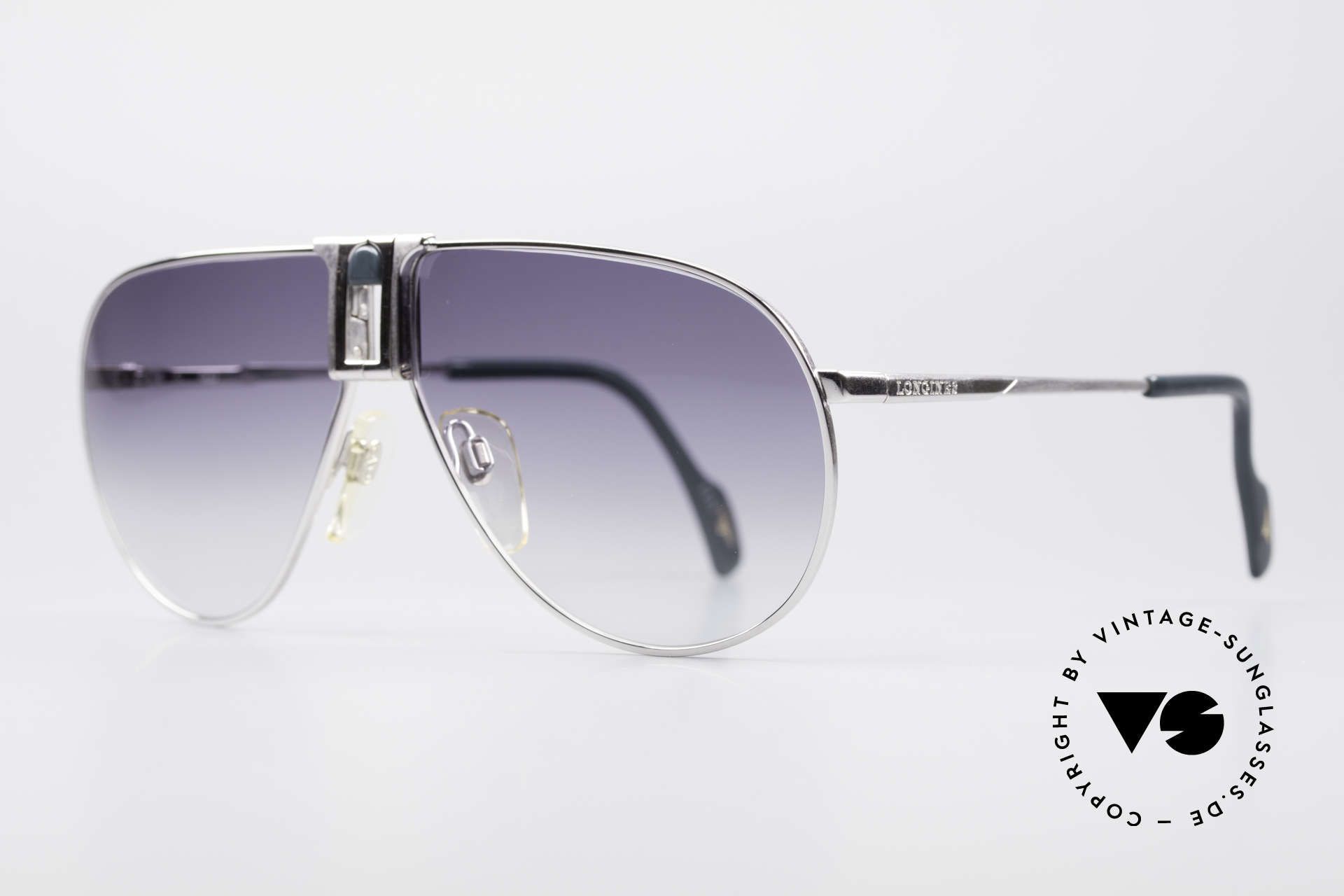 Longines 0154 Large 80's Aviator Sunglasses, Large size 138mm width: with leather case by GENTA, Made for Men