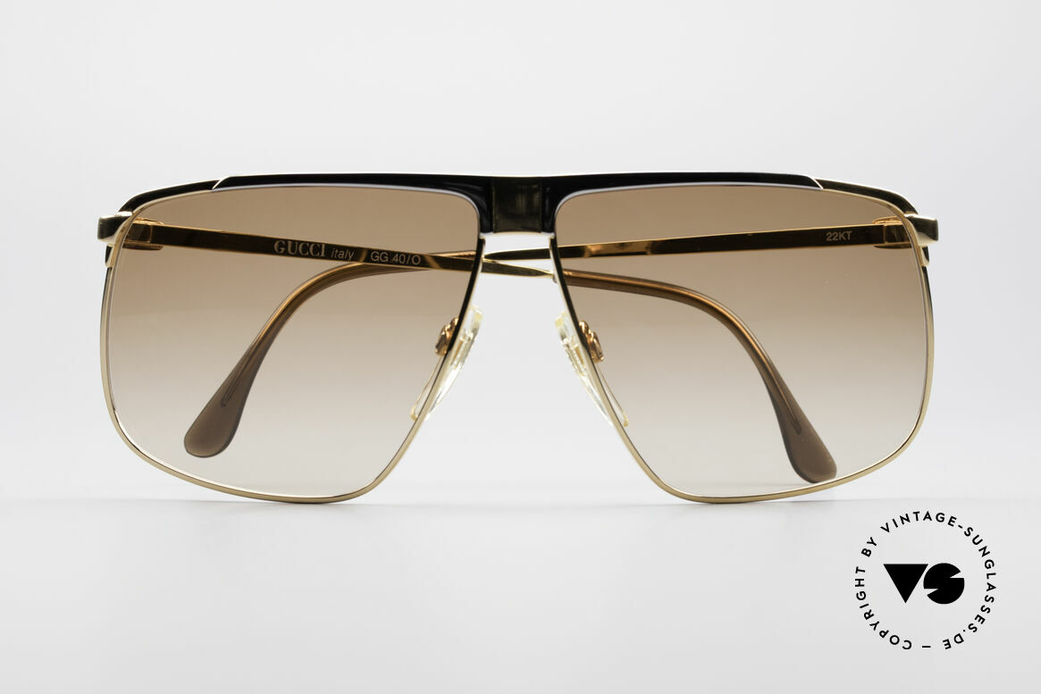 Gucci GG40 22kt Gold-Plated Sunglasses, NO RETRO fashion, but real 1980's retail commodity, Made for Men