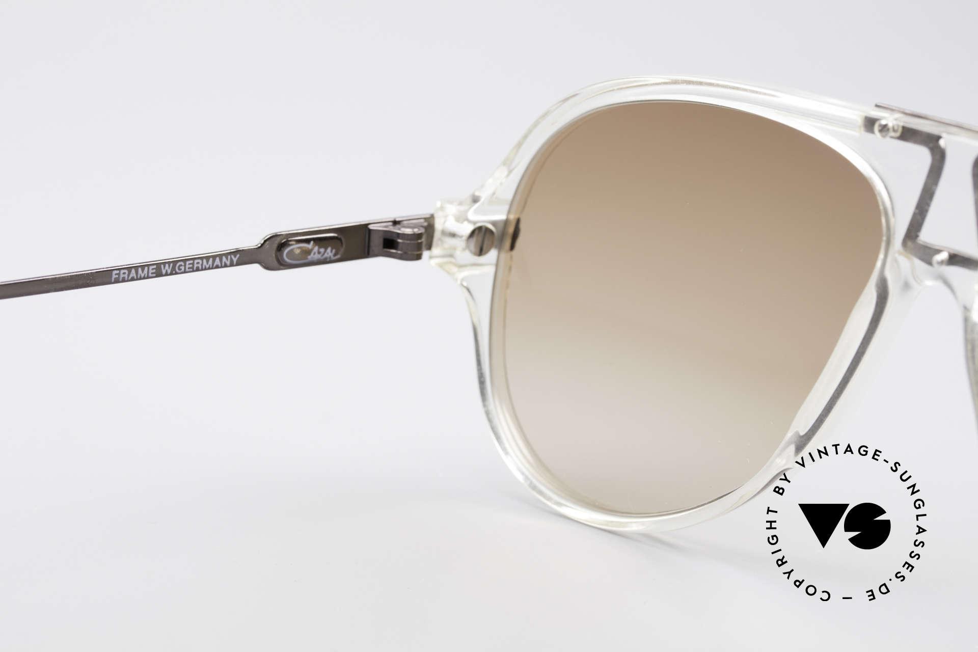 Cazal 622 Vintage 80's Aviator Sunglasses, light brown gradient sun lenses; 100% UV protection, Made for Men
