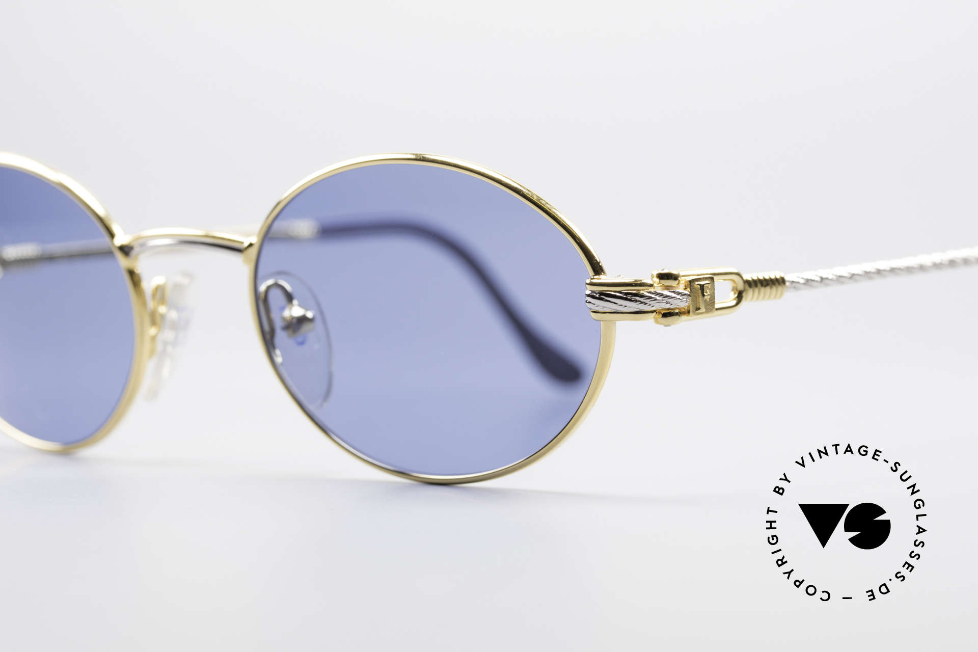 Fred Ketch Oval Luxury Sailing Sunglasses, gold-plated frame; temples are twisted like a hawser, Made for Men and Women