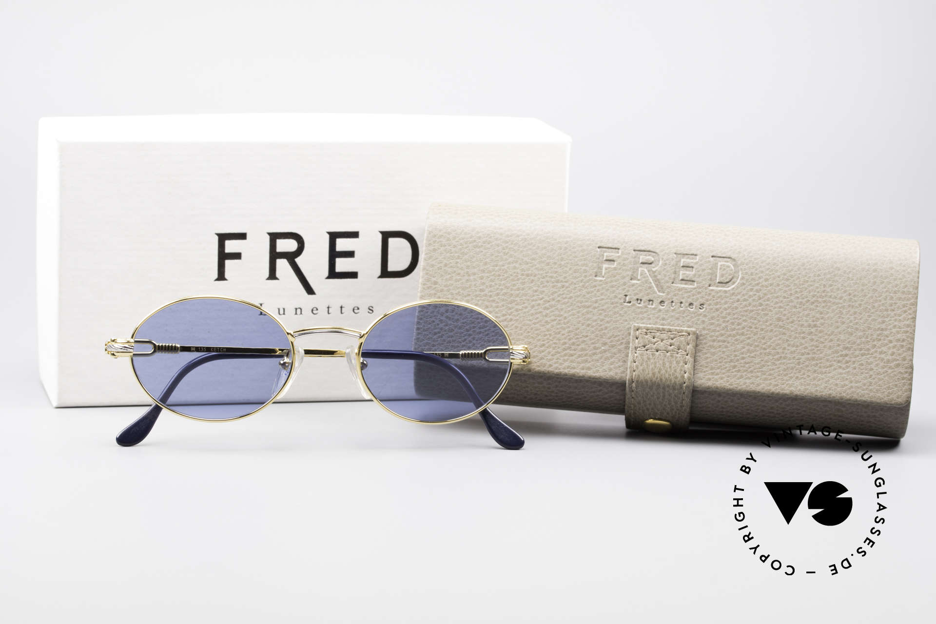 Fred Ketch Oval Luxury Sailing Sunglasses, orig. Fred packing (box, leather case, cleaning cloth), Made for Men and Women