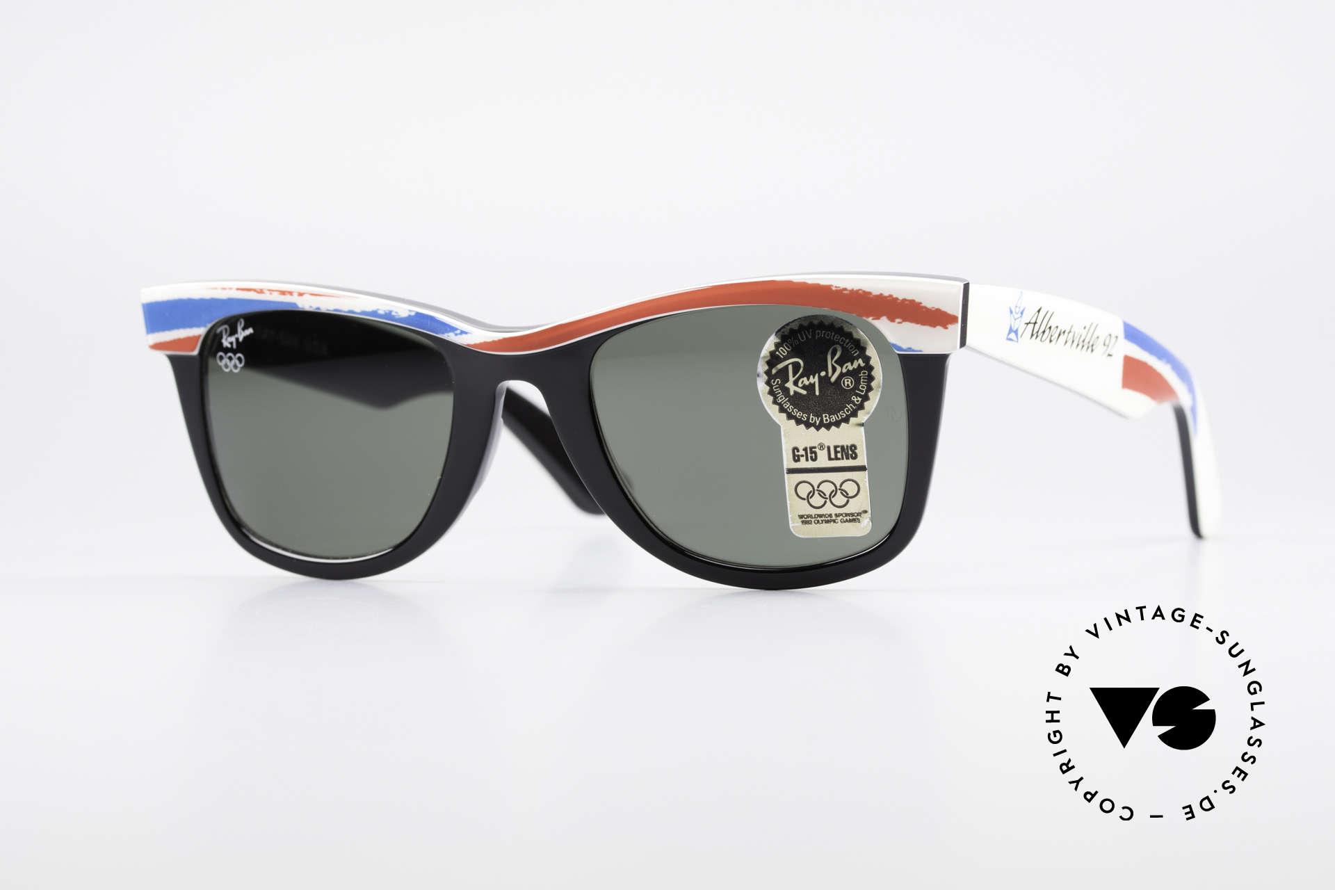 Ray Ban Wayfarer I Olympic Games Albertville, LIMITED Bausch&Lomb vintage Wayfarer sunglasses, Made for Men and Women