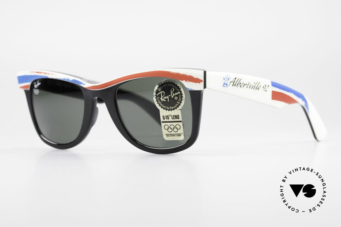 Ray Ban Wayfarer I Olympic Games Albertville, B&L quality mineral lenses (for 100% UV-protection), Made for Men and Women