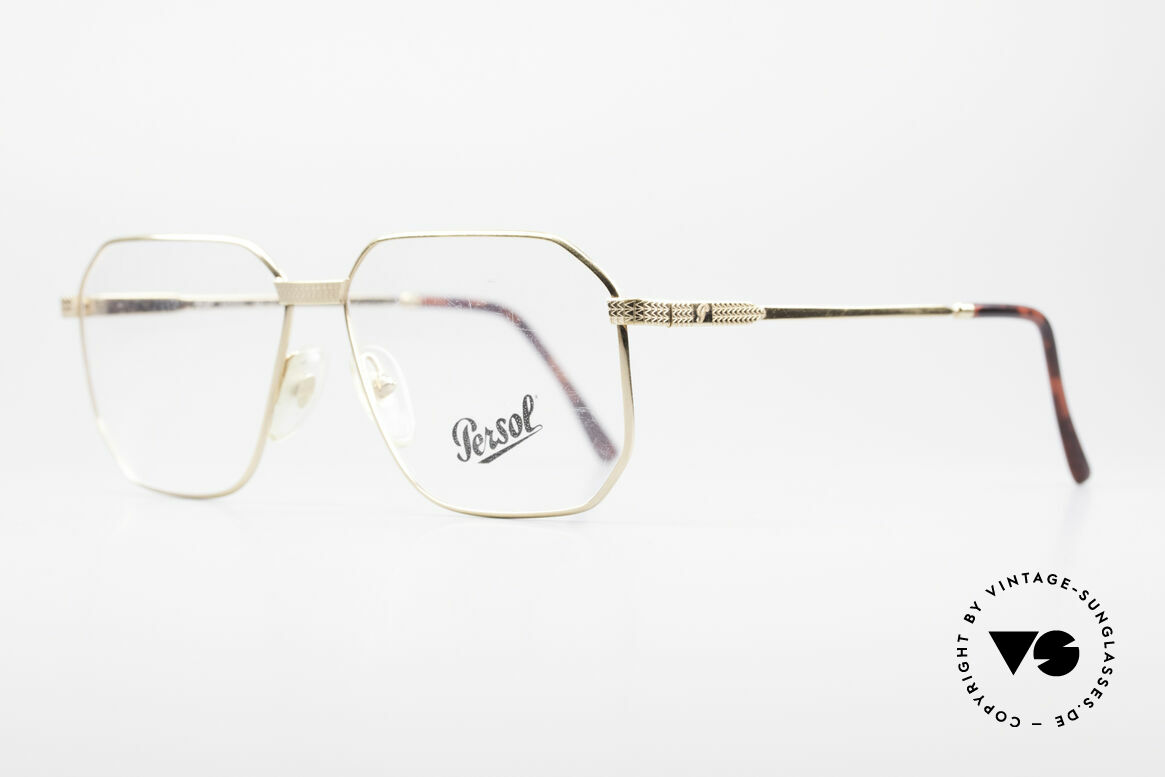 Persol Morris 90's Vintage Eyeglass Frame, timeless metal frame with classic gold finish, Made for Men
