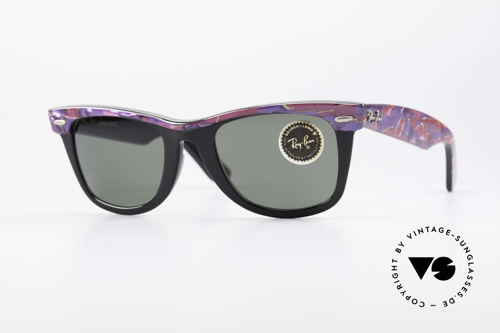 Ray Ban Wayfarer I Original Mosaic Wayfarer B&L, vintage Ray Ban Wayfarer sunglasses 'made in USA', Made for Men and Women