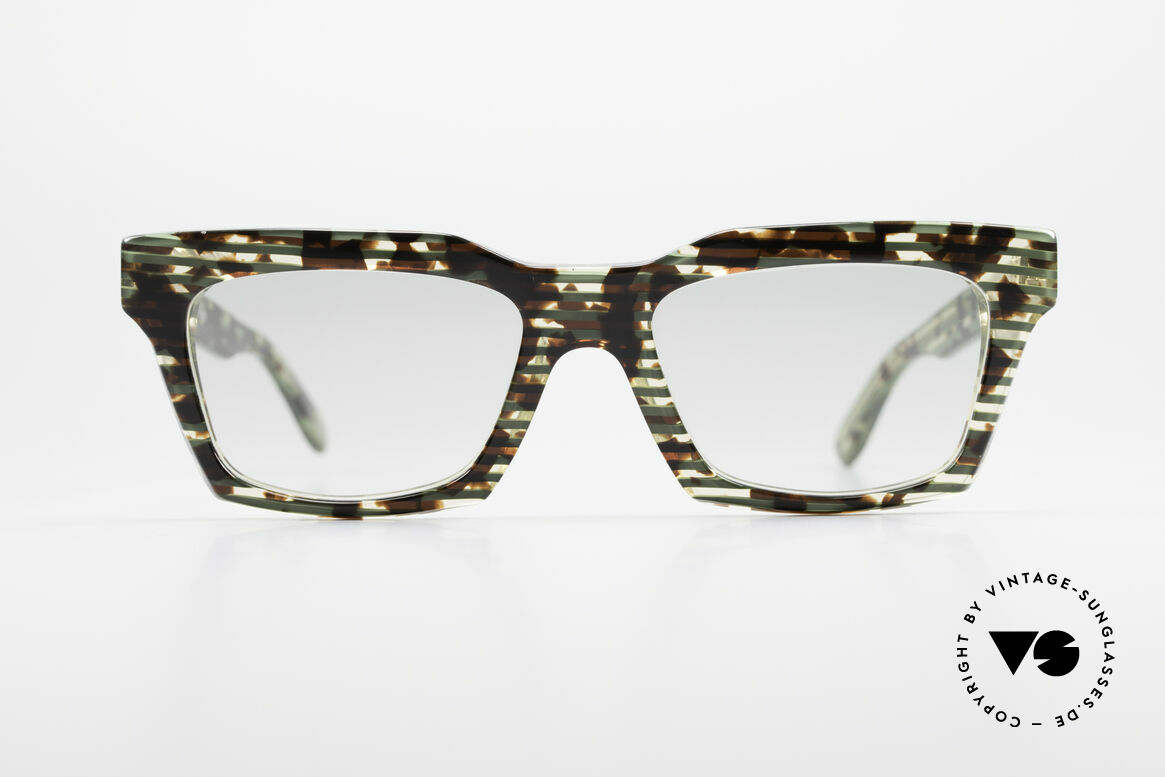 Alain Mikli 710 / 825 Extraordinary 80's Frame, spectacular pattern: green striped and brown mosaic, Made for Men and Women