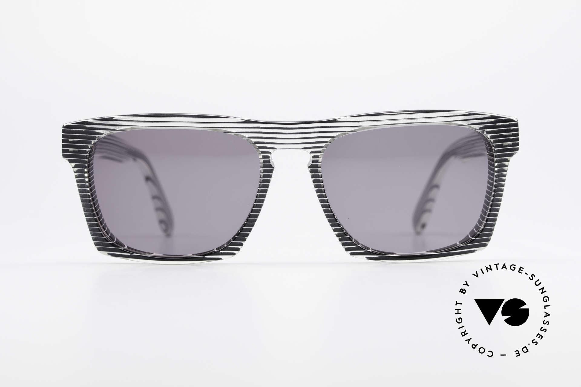 Alain Mikli 707 / 986 Unique Designer Sunglasses, terrific pattern: crystal / gray striped / black & white, Made for Men and Women