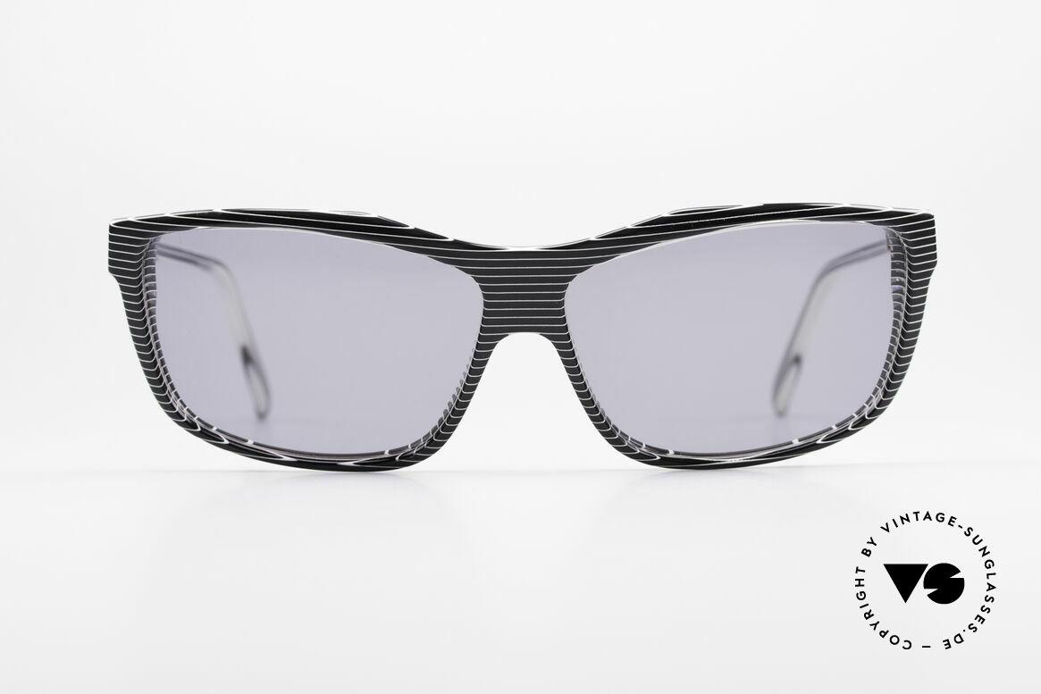 Alain Mikli 701 / 986 Rare 80s Designer Sunglasses, terrific pattern: crystal / gray striped / black & white, Made for Women