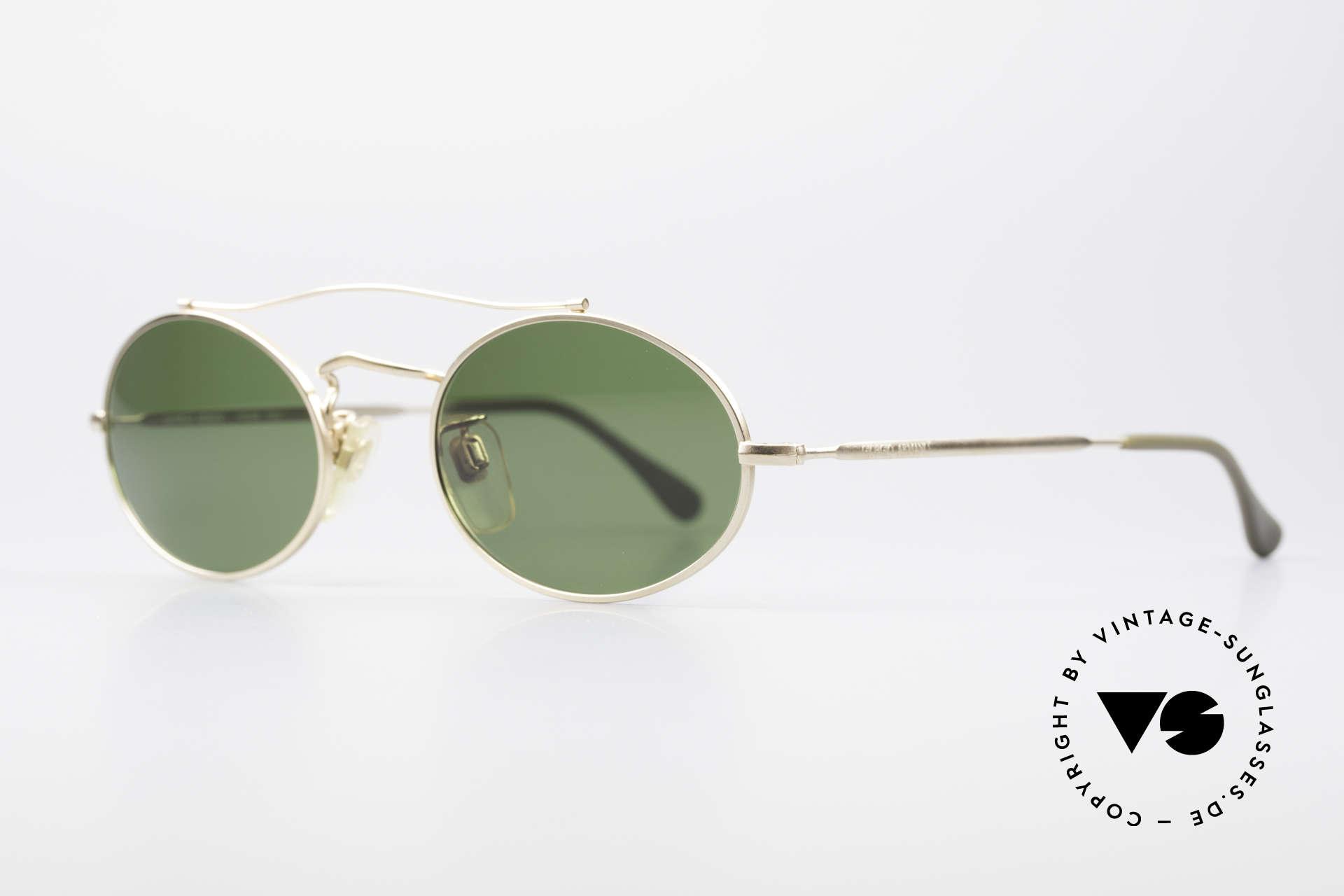 Giorgio Armani 115 90's Designer Sunglasses, with grass green sun lenses (100% UV protection), Made for Men and Women